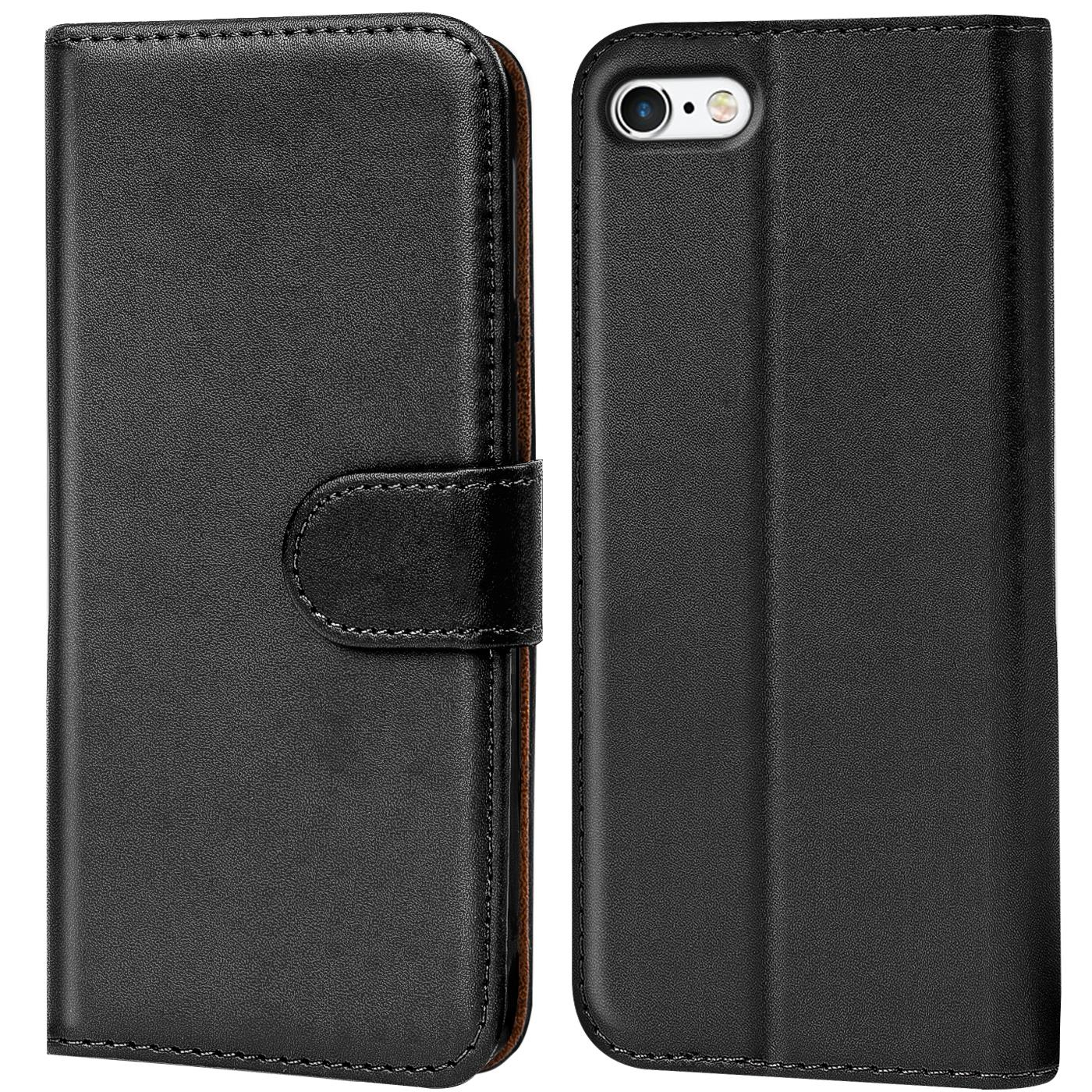 Book-Case-Apple-iPhone-5-5S-SE-Huelle-Klapphuelle-Handy-Tasche-Flip-Cover-Schwarz