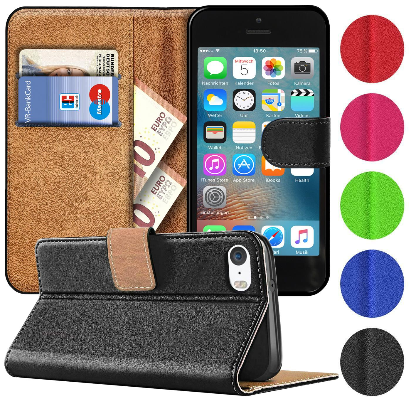 Case-Cover-Apple-iPhone-5-5S-SE-Magnetic-Flip-PU-Leather-Wallet-Holder-Shell-Bag