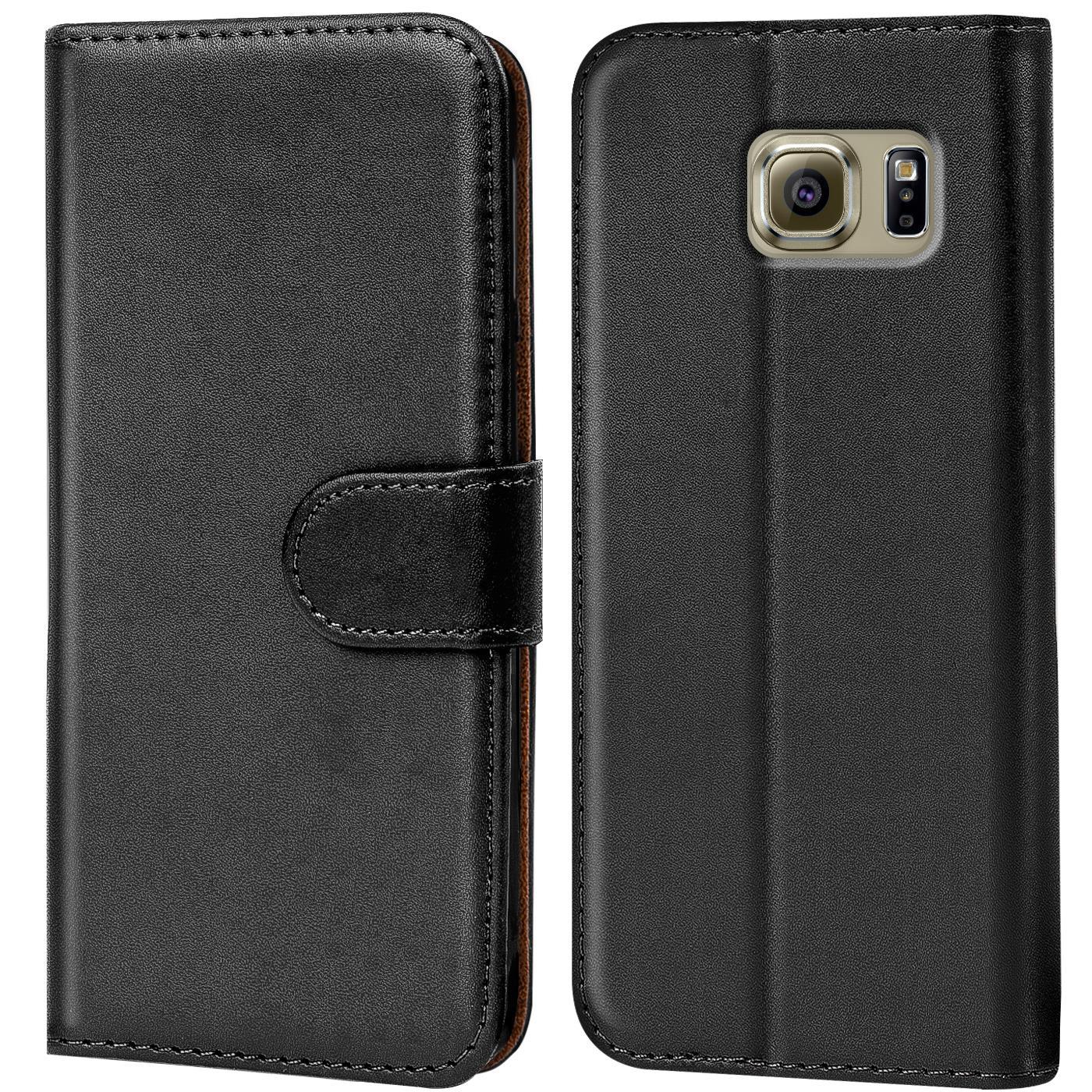 Book-Case-Samsung-Galaxy-s6-edge-Plus-Sac-etui-Flip-Cover-pour-Telephone-Portable-etui-Noir