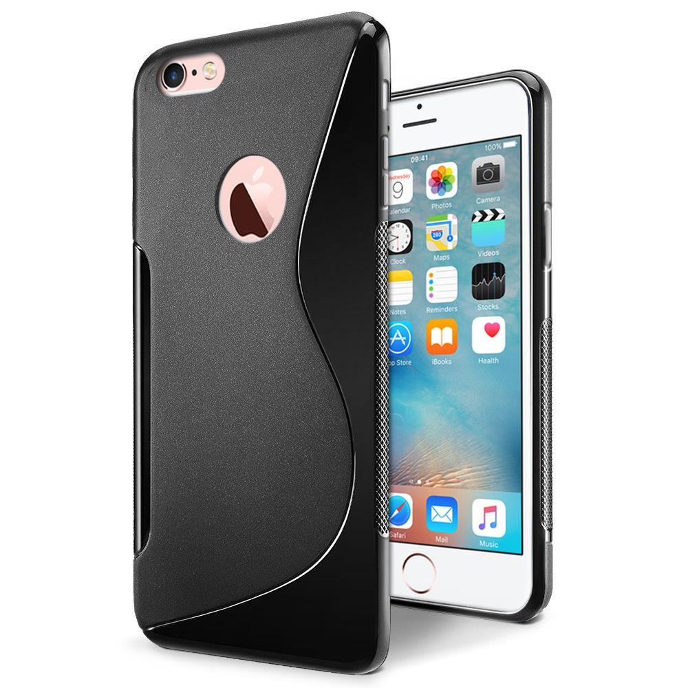 silikon h lle f r apple iphone 6 6s case handy cover tasche mit seitlichem grip in schwarz. Black Bedroom Furniture Sets. Home Design Ideas