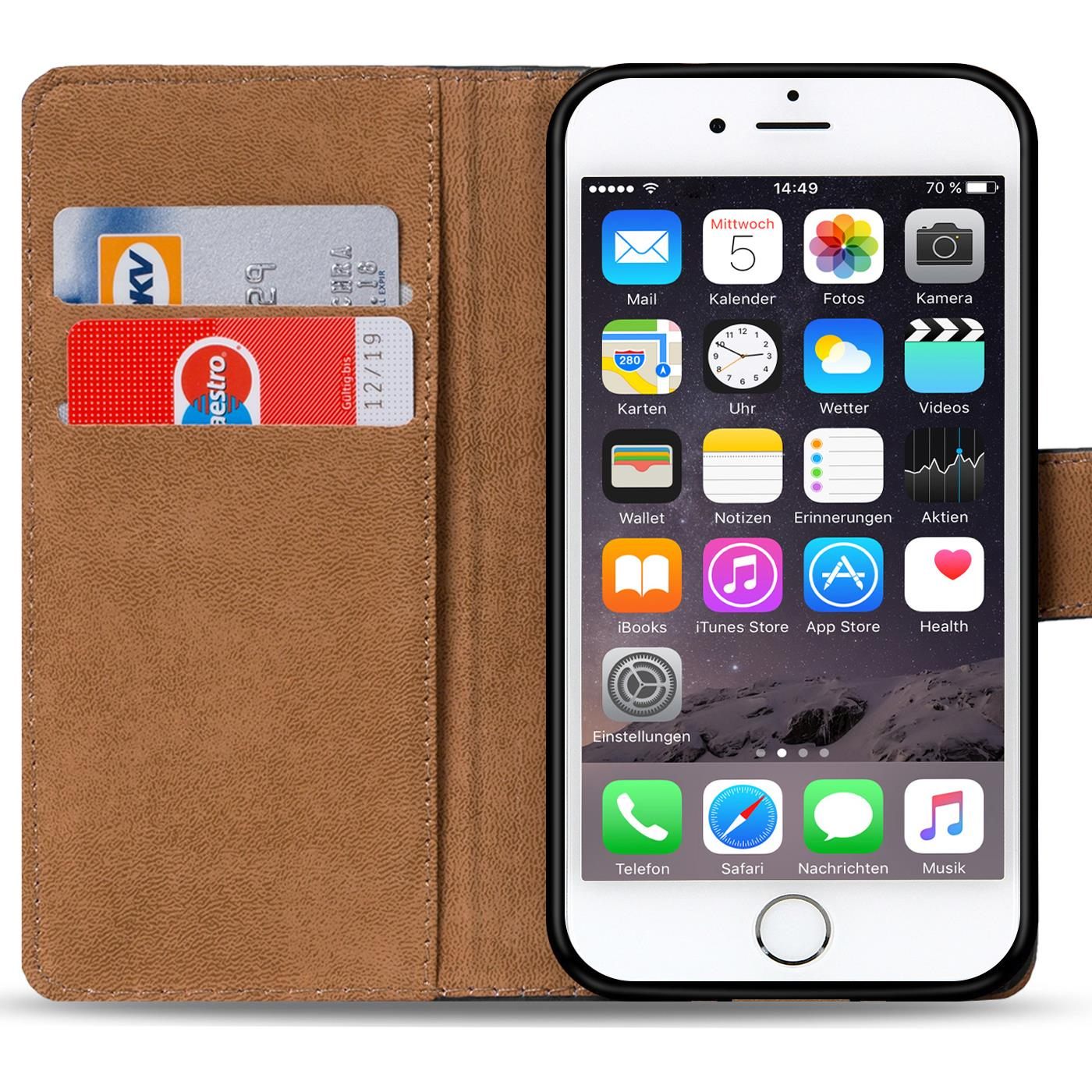 book case apple iphone 6 6s h lle klapph lle handy tasche. Black Bedroom Furniture Sets. Home Design Ideas