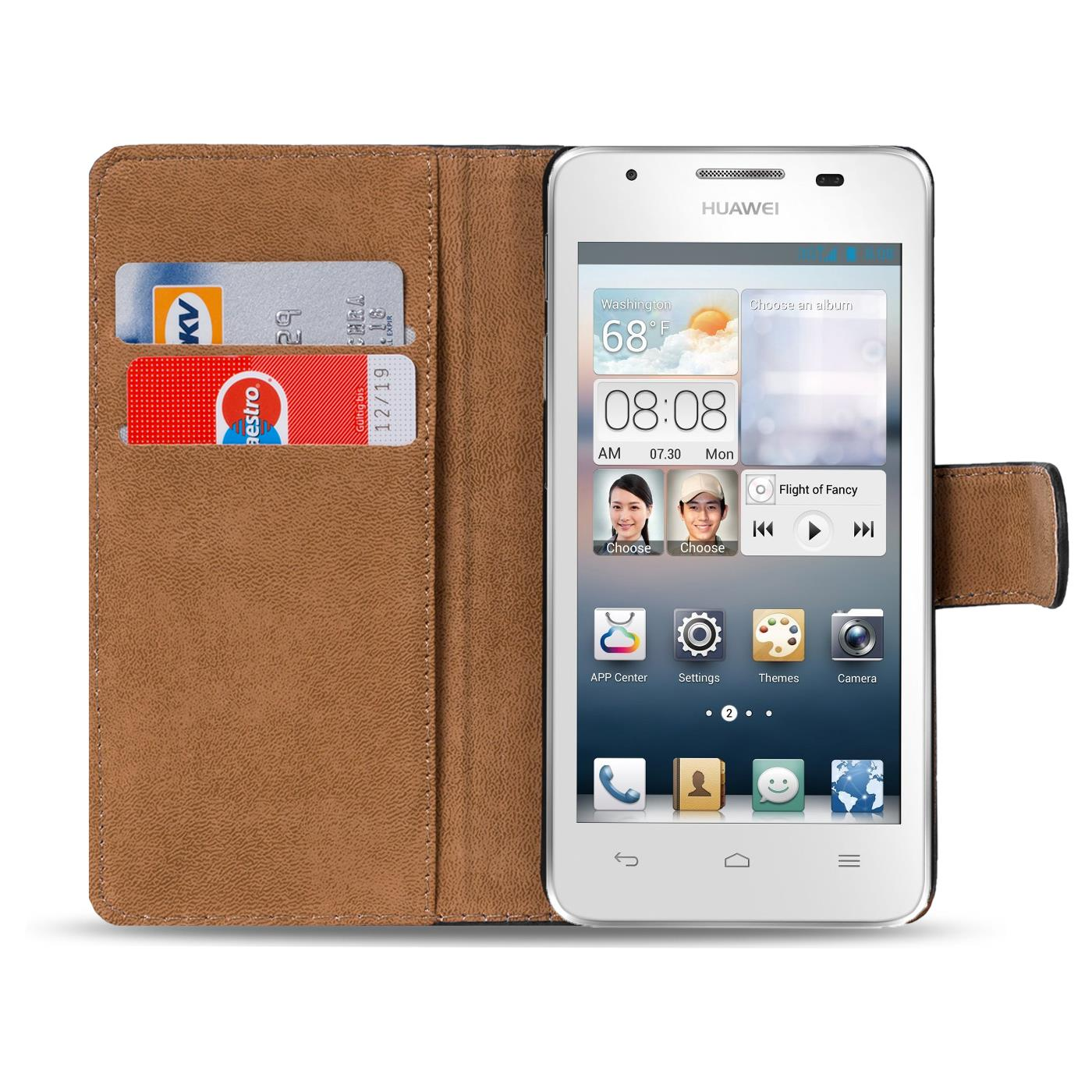 Handy-Huelle-fuer-Huawei-Y530-Case-Schutz-Tasche-Cover-Basic-Flip-Etui-Bookcase