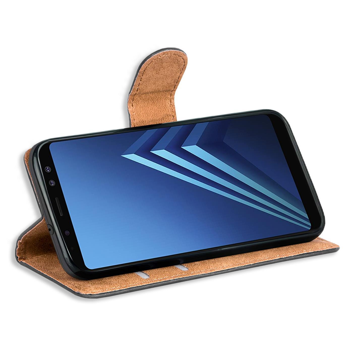 miniatuur 10 - Book Case für Samsung Galaxy A8 2018 Hülle Tasche Flip Cover Handy Schutz Hülle