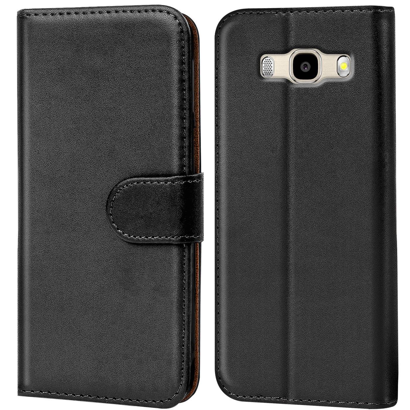 Book Case Samsung Galaxy J7 2016 Hülle Tasche Flip Cover Handy Schutz in Schwarz