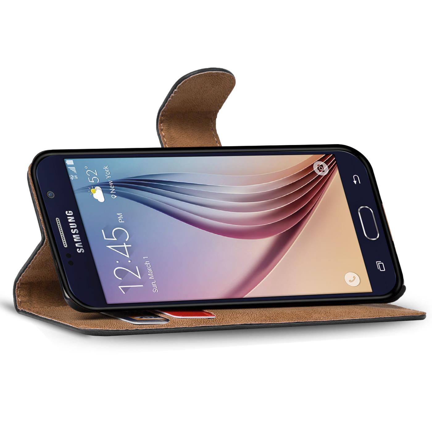 Book-Case-Samsung-Galaxy-s6-edge-Plus-Sac-etui-Flip-Cover-pour-Telephone-Portable-etui-Noir miniature 3