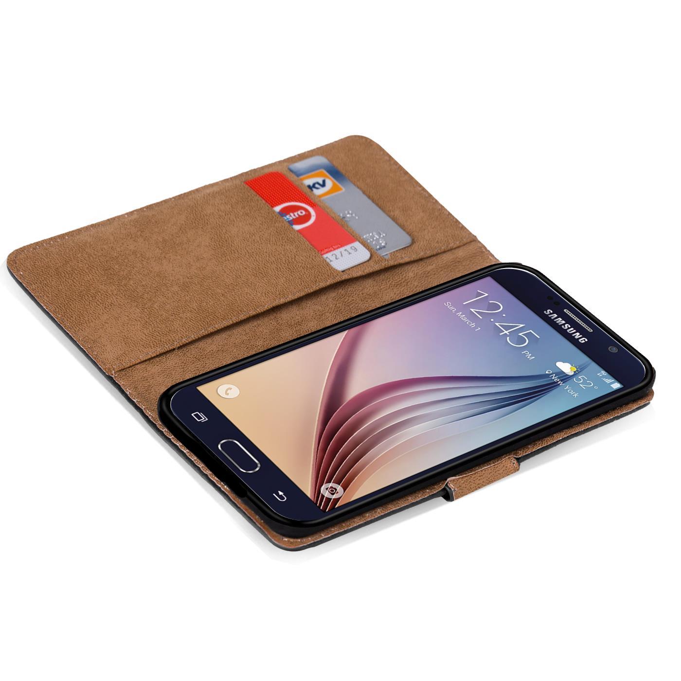 Book-Case-Samsung-Galaxy-s6-edge-Plus-Sac-etui-Flip-Cover-pour-Telephone-Portable-etui-Noir miniature 4