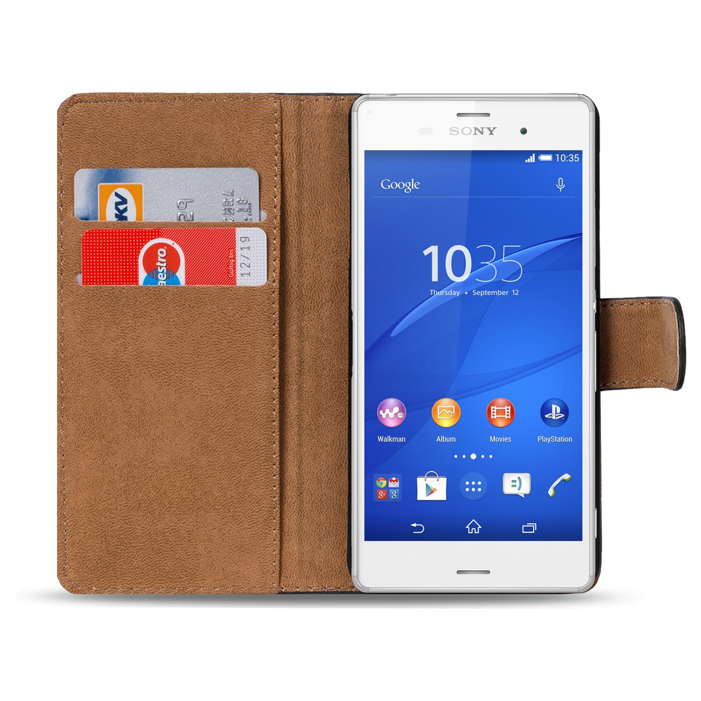 Case-for-Sony-Xperia-Z3-Case-Case-Cover-Basic-Book-Flip-Black thumbnail 2
