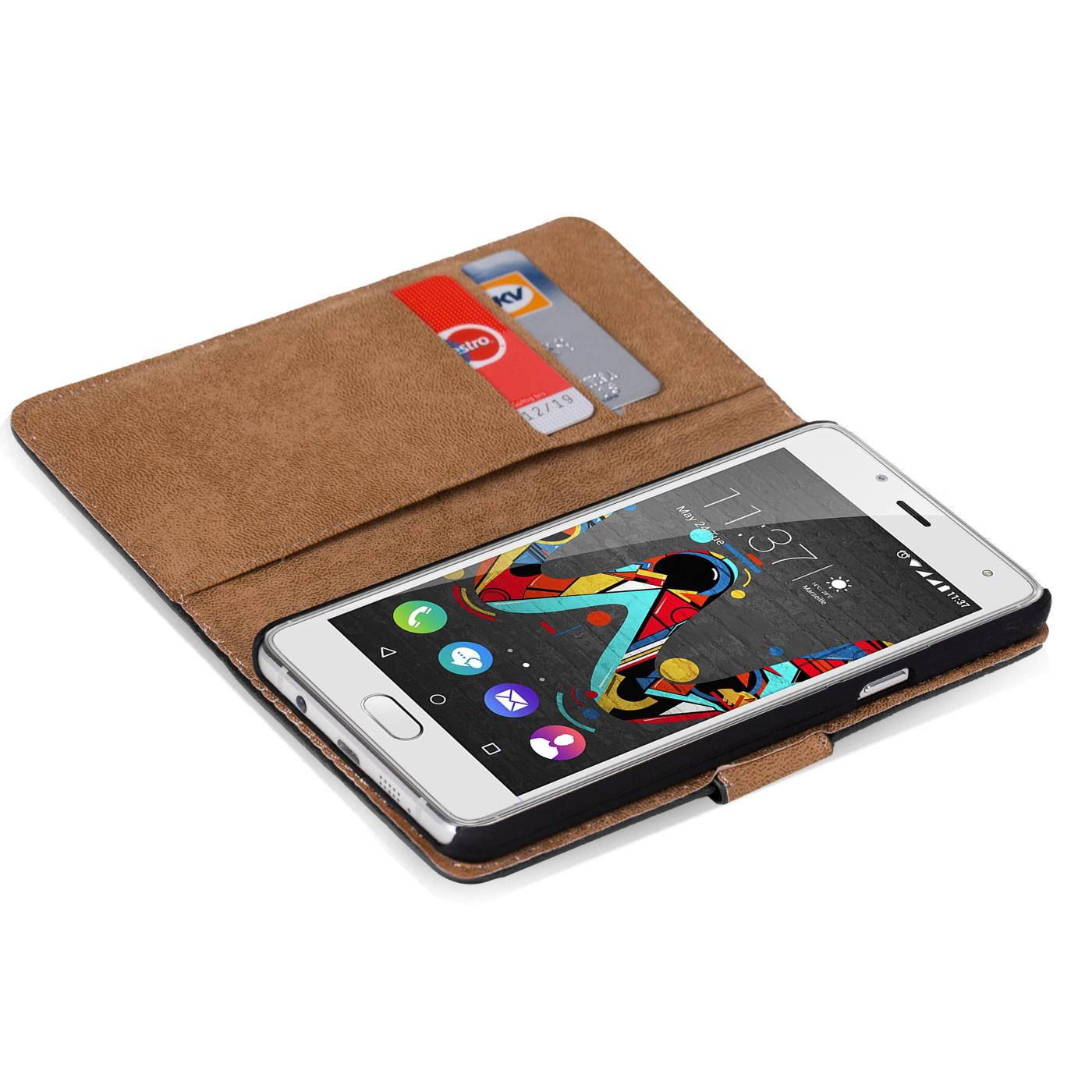 Handy-Huelle-fuer-Wiko-U-Feel-Lite-Case-Schutz-Tasche-Cover-Basic-Flip-Etui-Book