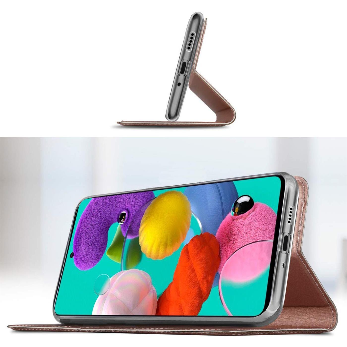 Handy-Huelle-Samsung-Galaxy-A51-Book-Case-Schutzhuelle-Tasche-Slim-Flip-Cover-Etui Indexbild 16
