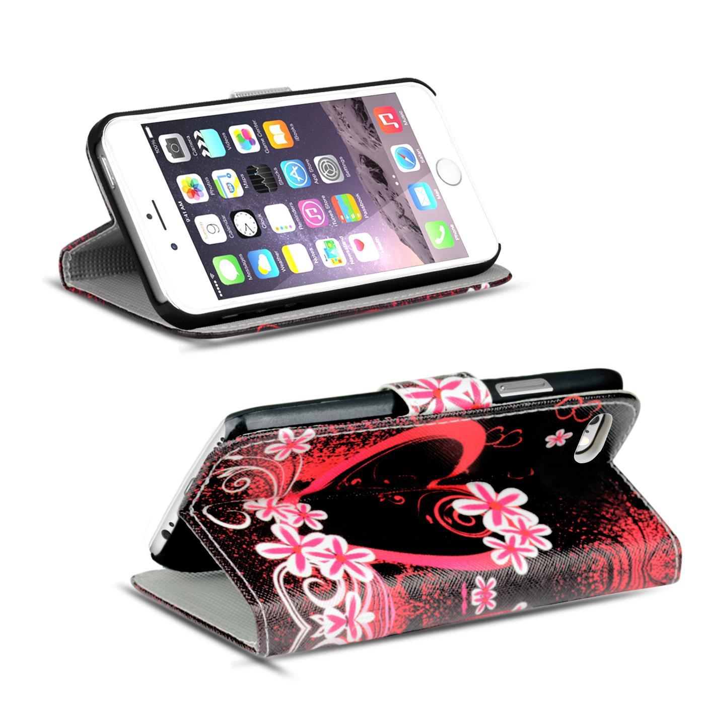 handy tasche f r apple iphone 6 6s plus h lle pu leder motiv schutzh lle case ebay. Black Bedroom Furniture Sets. Home Design Ideas