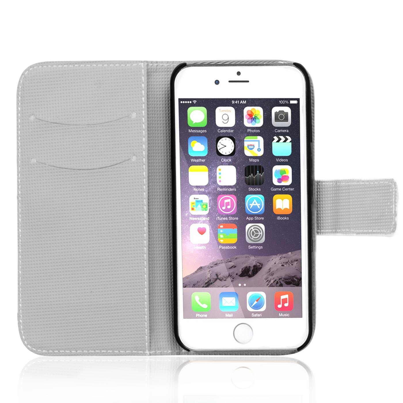 handy tasche f r apple iphone 7 h lle pu leder motiv schutzh lle case bumper 4058455400032 ebay. Black Bedroom Furniture Sets. Home Design Ideas