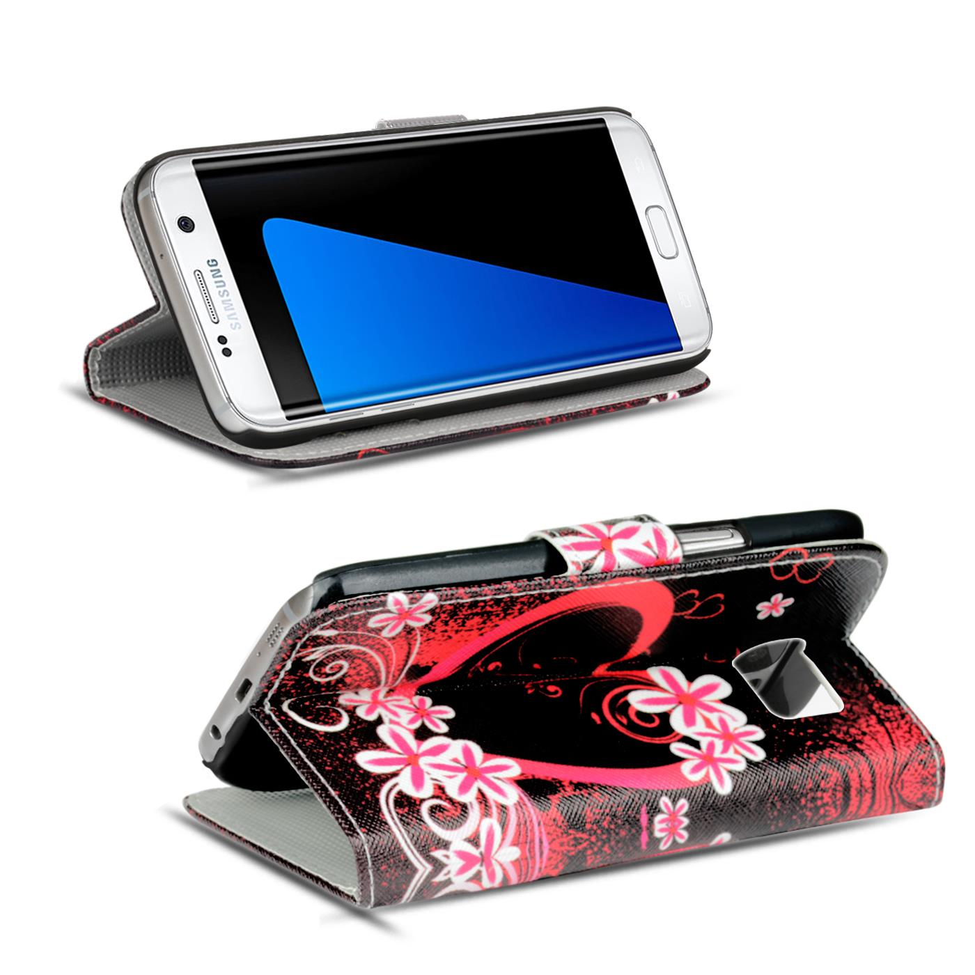 Design-Book-Wallet-Case-for-Samsung-Galaxy-S7-Edge-PU-Leather-Flip-Cover-Holder thumbnail 44