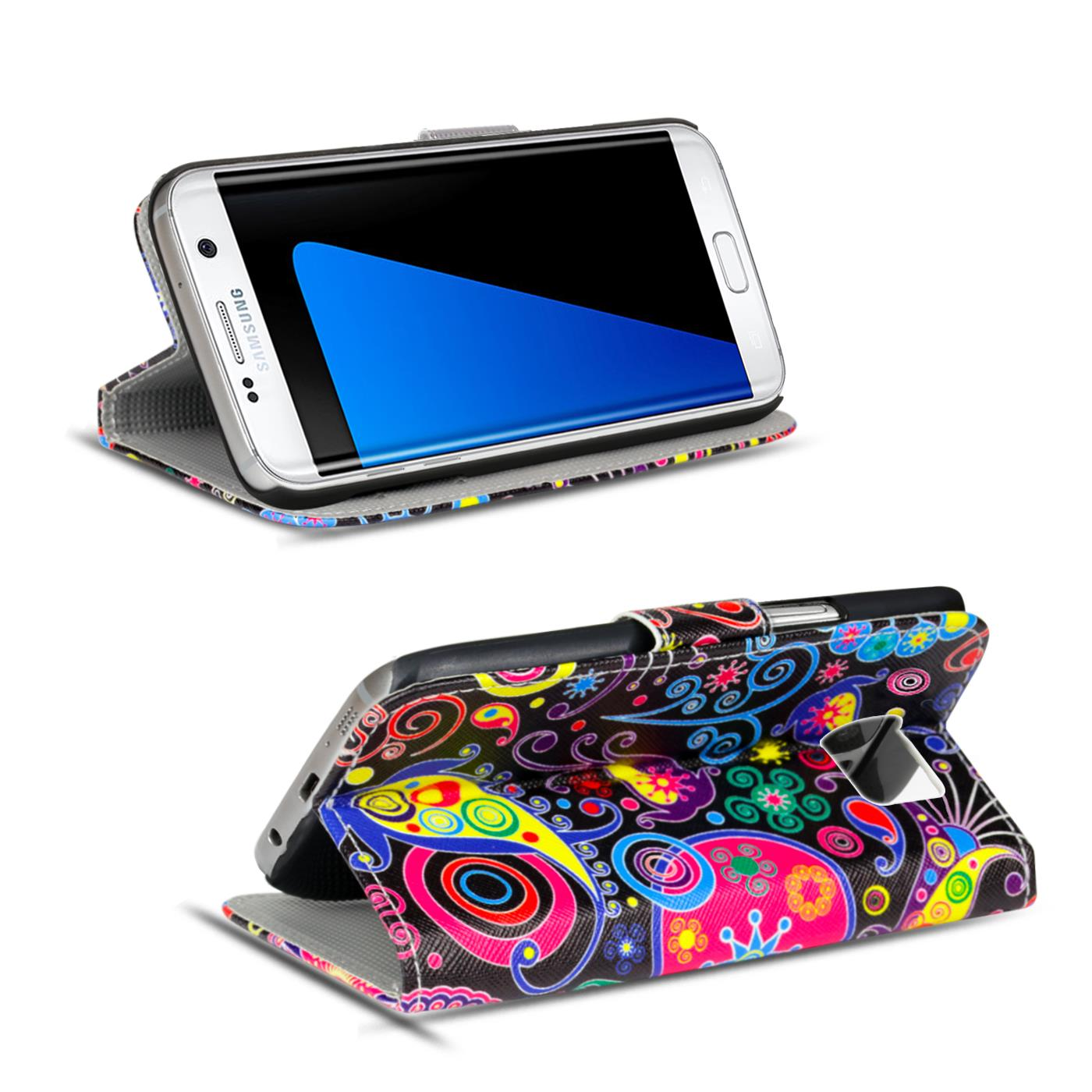 Schutz-Huelle-fuer-Samsung-Galaxy-Handy-Tasche-Flip-Cover-Wallet-Etui-Case-Schale Indexbild 13