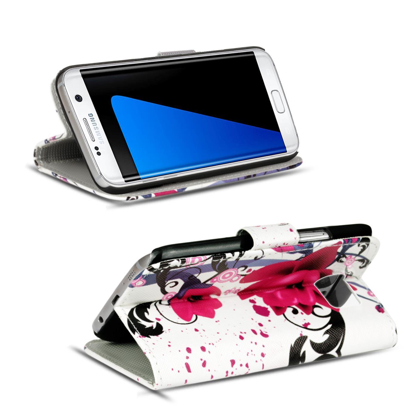 Schutz-Huelle-fuer-Samsung-Galaxy-Handy-Tasche-Flip-Cover-Wallet-Etui-Case-Schale Indexbild 17