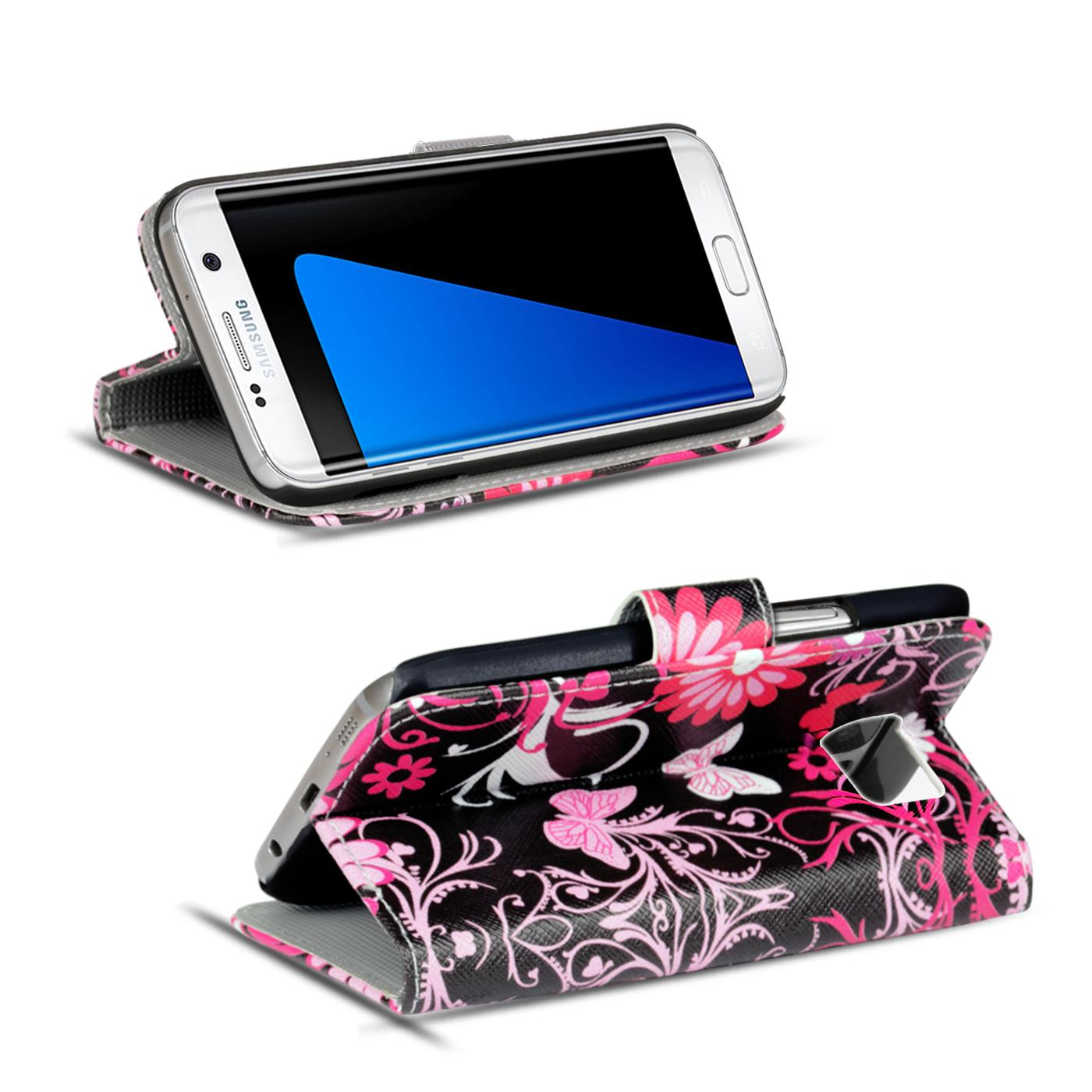 Schutz-Huelle-fuer-Samsung-Galaxy-Handy-Tasche-Flip-Cover-Wallet-Etui-Case-Schale Indexbild 19