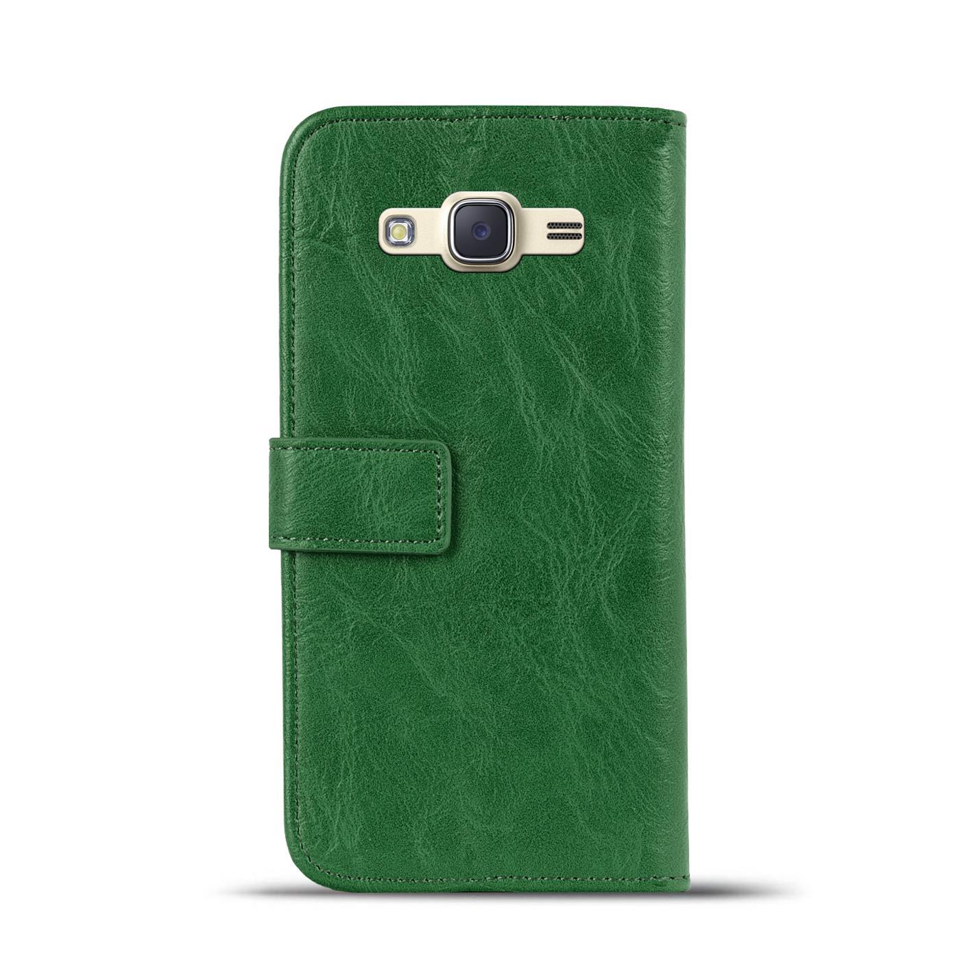 Handy-Tasche-Huelle-Samsung-Galaxy-J1-2016-Case-Klapphuelle-PU-Leder-Wallet-Cover Indexbild 3