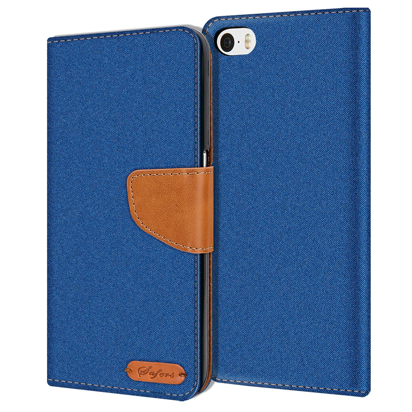 Apple-iPhone-5-5s-SE-Phone-PU-Leather-Magnetic-Flip-Case-Wallet-Denim-Cover-Slim thumbnail 21
