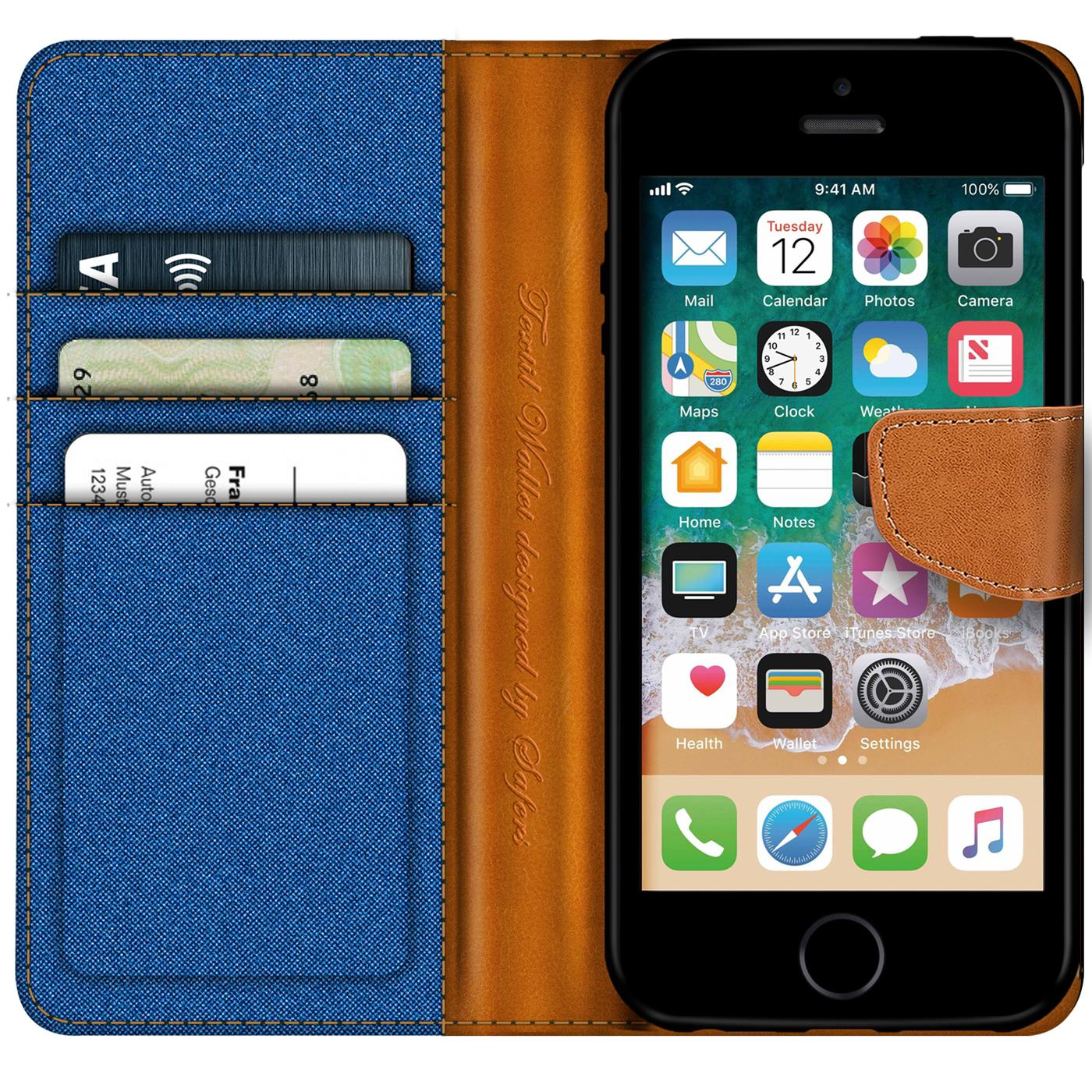 Apple-iPhone-5-5s-SE-Phone-PU-Leather-Magnetic-Flip-Case-Wallet-Denim-Cover-Slim thumbnail 22