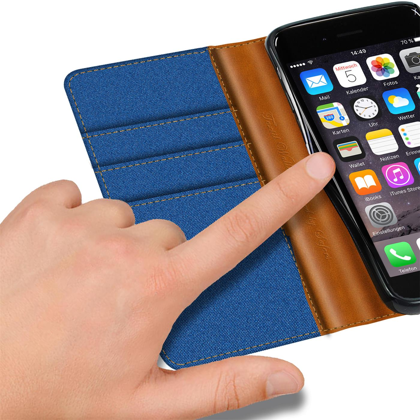Apple-iPhone-5-5s-SE-Phone-PU-Leather-Magnetic-Flip-Case-Wallet-Denim-Cover-Slim thumbnail 23