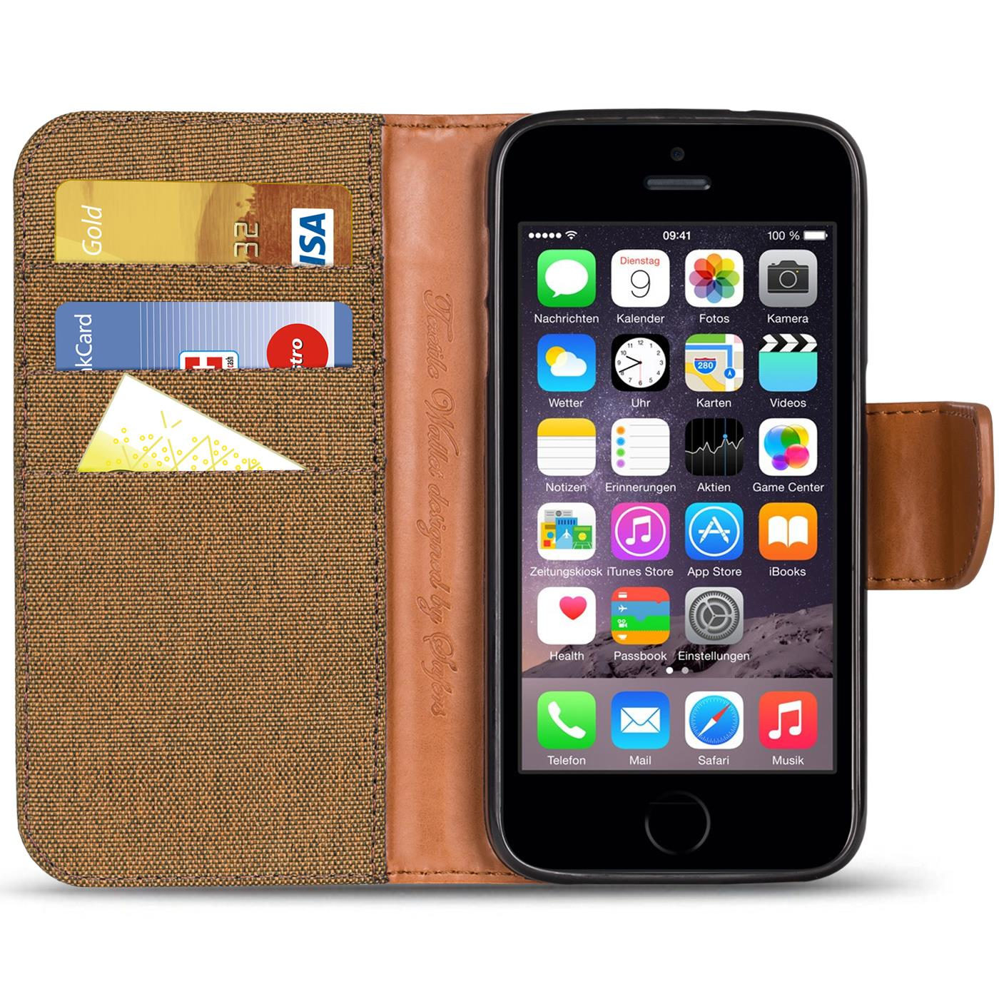 Apple-iPhone-5-5s-SE-Phone-PU-Leather-Magnetic-Flip-Case-Wallet-Denim-Cover-Slim thumbnail 27