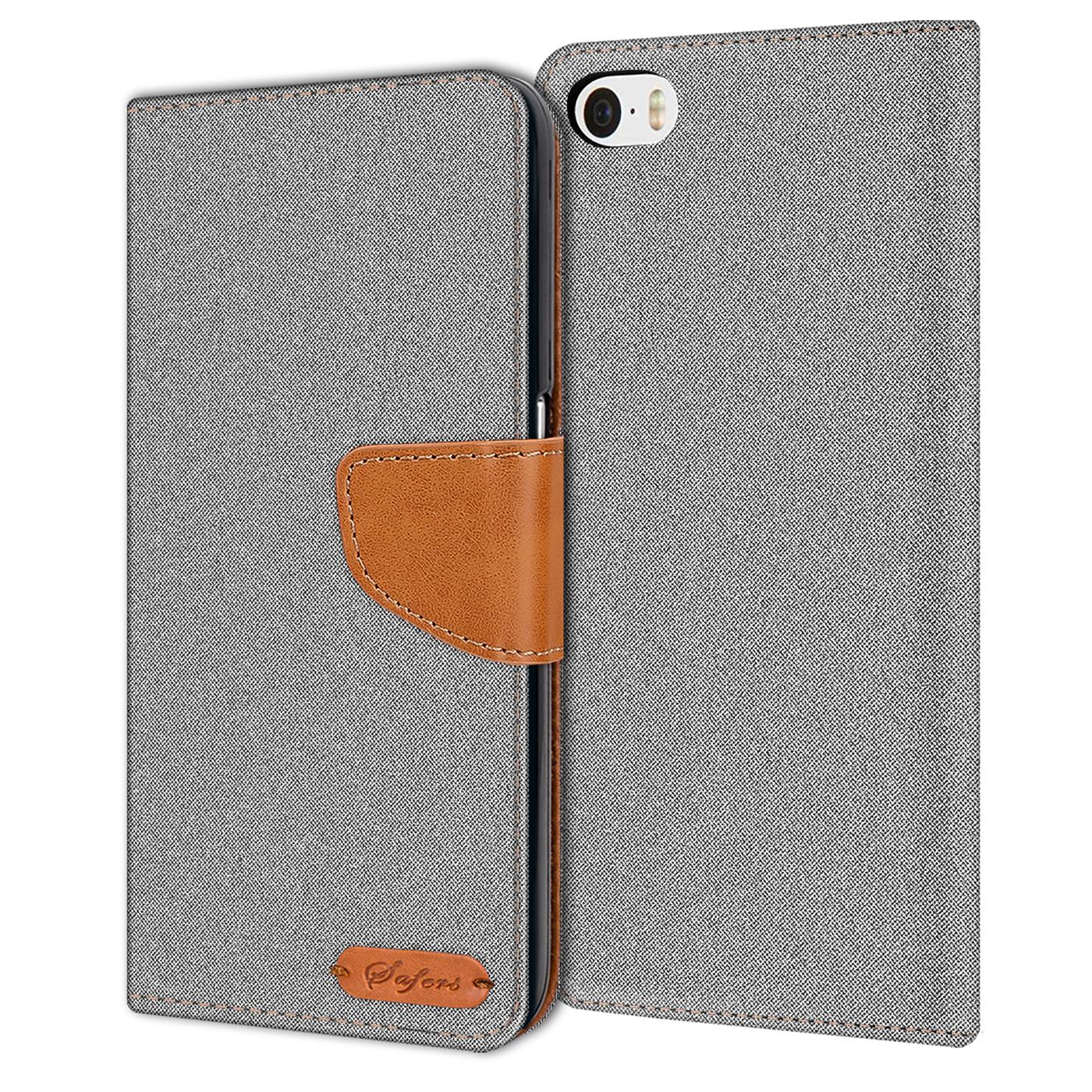 Apple-iPhone-5-5s-SE-Phone-PU-Leather-Magnetic-Flip-Case-Wallet-Denim-Cover-Slim thumbnail 9
