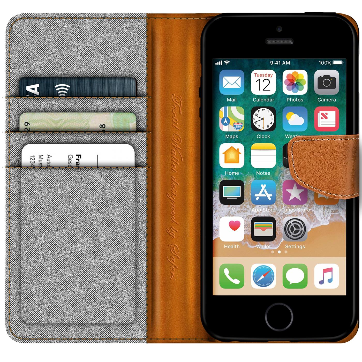Apple-iPhone-5-5s-SE-Phone-PU-Leather-Magnetic-Flip-Case-Wallet-Denim-Cover-Slim thumbnail 10