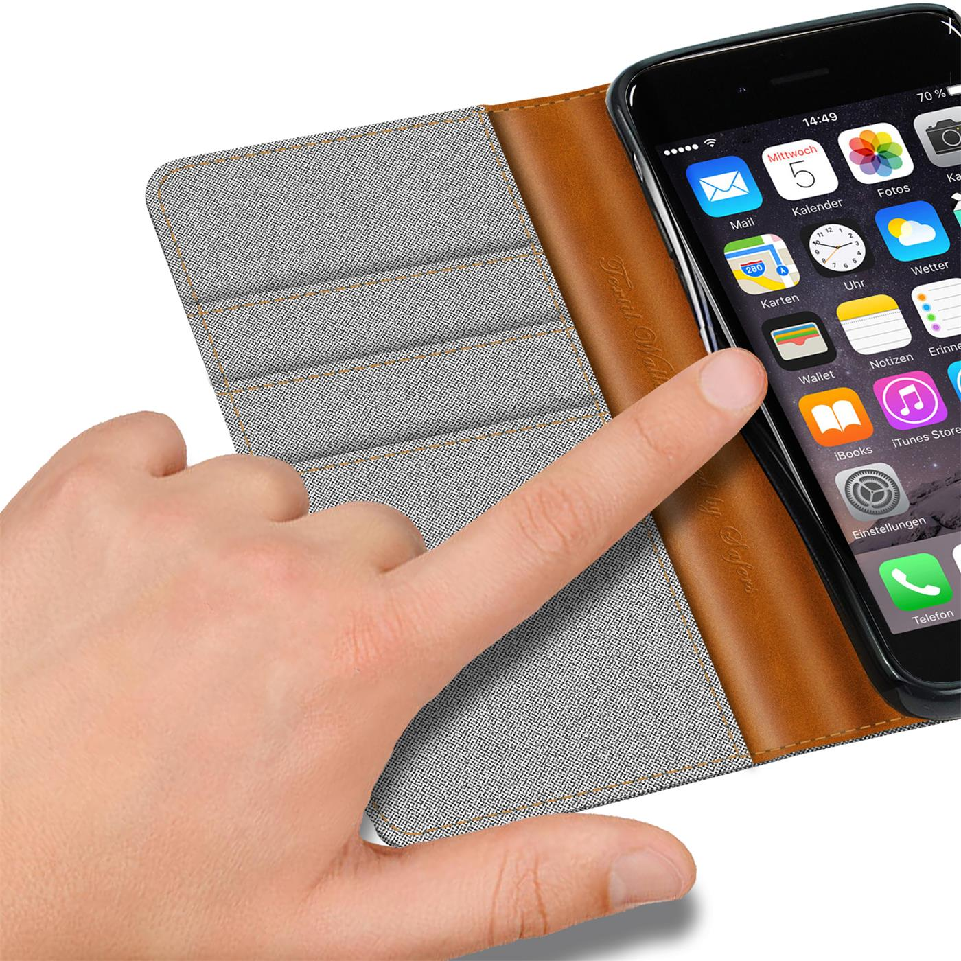 Apple-iPhone-5-5s-SE-Phone-PU-Leather-Magnetic-Flip-Case-Wallet-Denim-Cover-Slim thumbnail 11