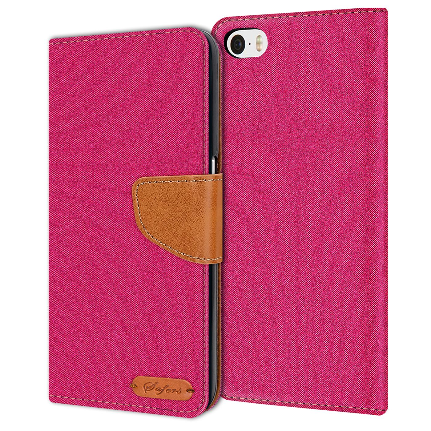 Apple-iPhone-5-5s-SE-Phone-PU-Leather-Magnetic-Flip-Case-Wallet-Denim-Cover-Slim thumbnail 17