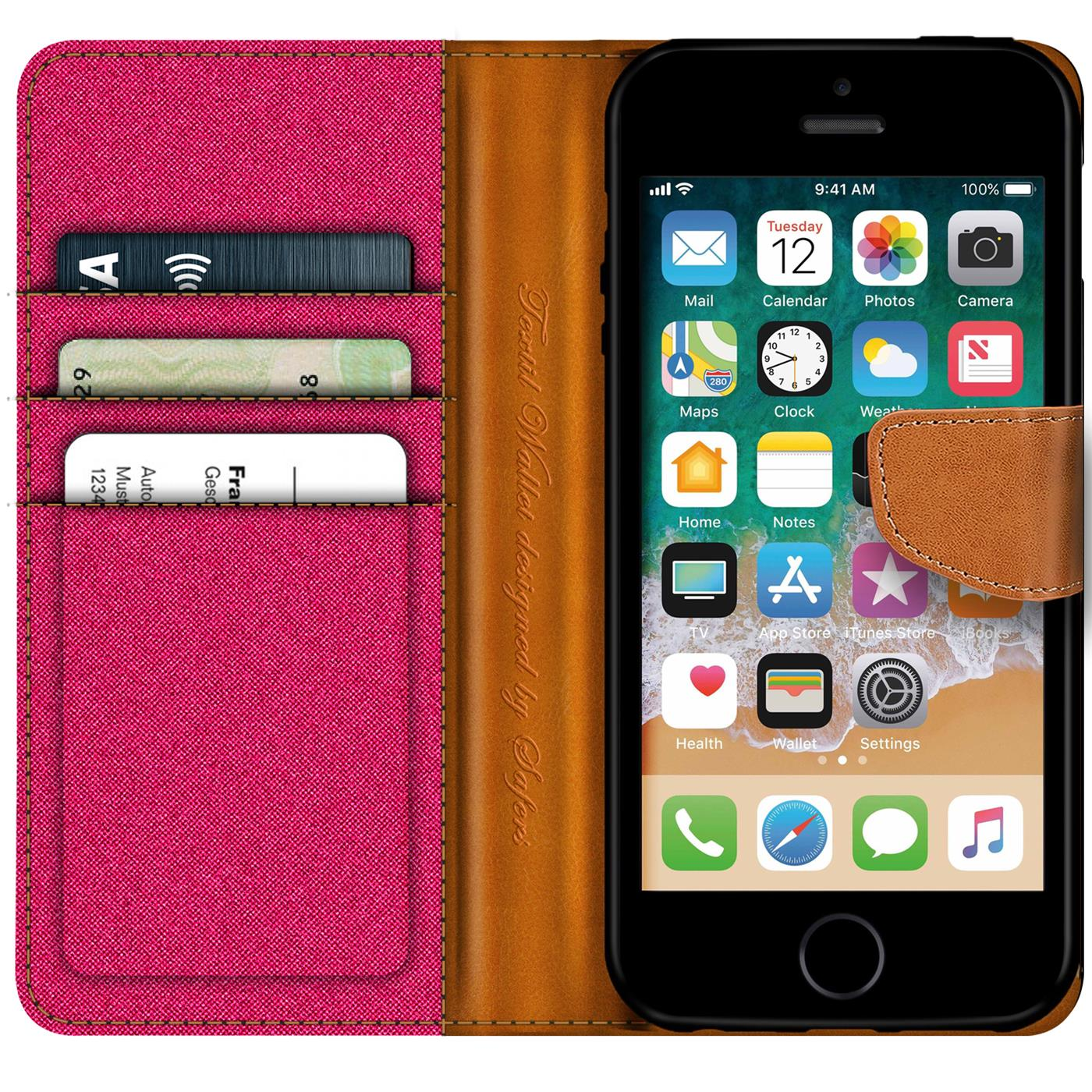 Apple-iPhone-5-5s-SE-Phone-PU-Leather-Magnetic-Flip-Case-Wallet-Denim-Cover-Slim thumbnail 18