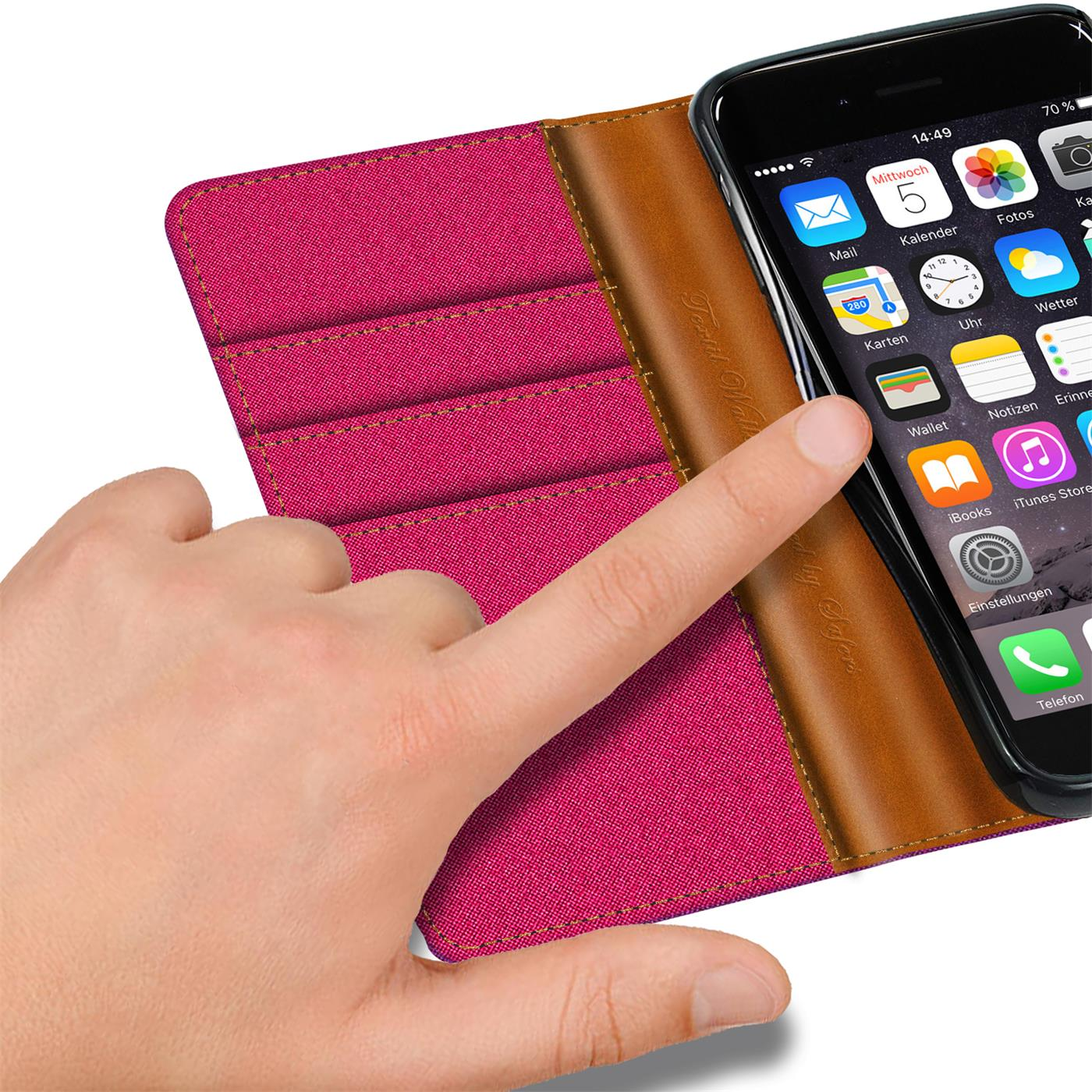 Apple-iPhone-5-5s-SE-Phone-PU-Leather-Magnetic-Flip-Case-Wallet-Denim-Cover-Slim thumbnail 19