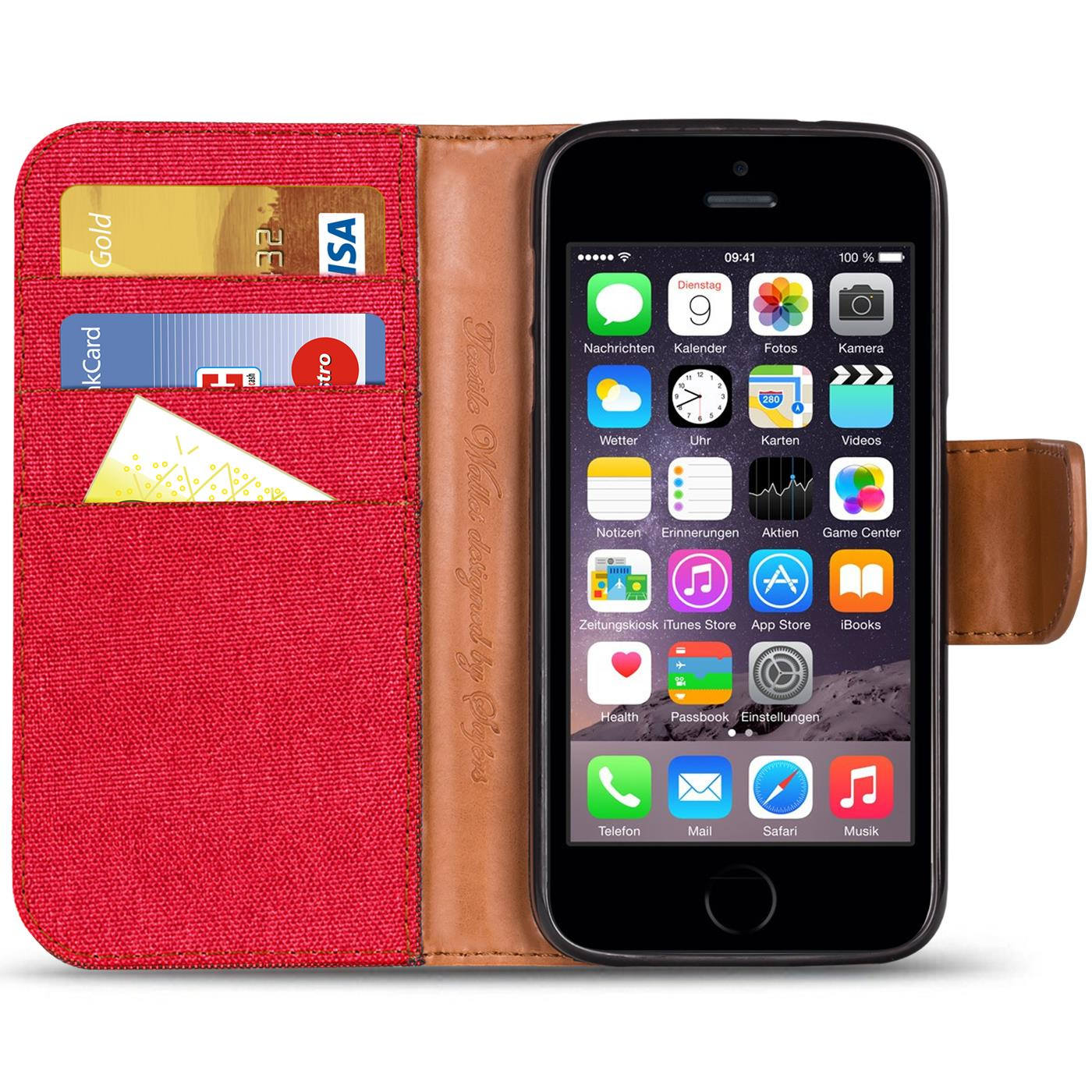 Apple-iPhone-5-5s-SE-Phone-PU-Leather-Magnetic-Flip-Case-Wallet-Denim-Cover-Slim thumbnail 15