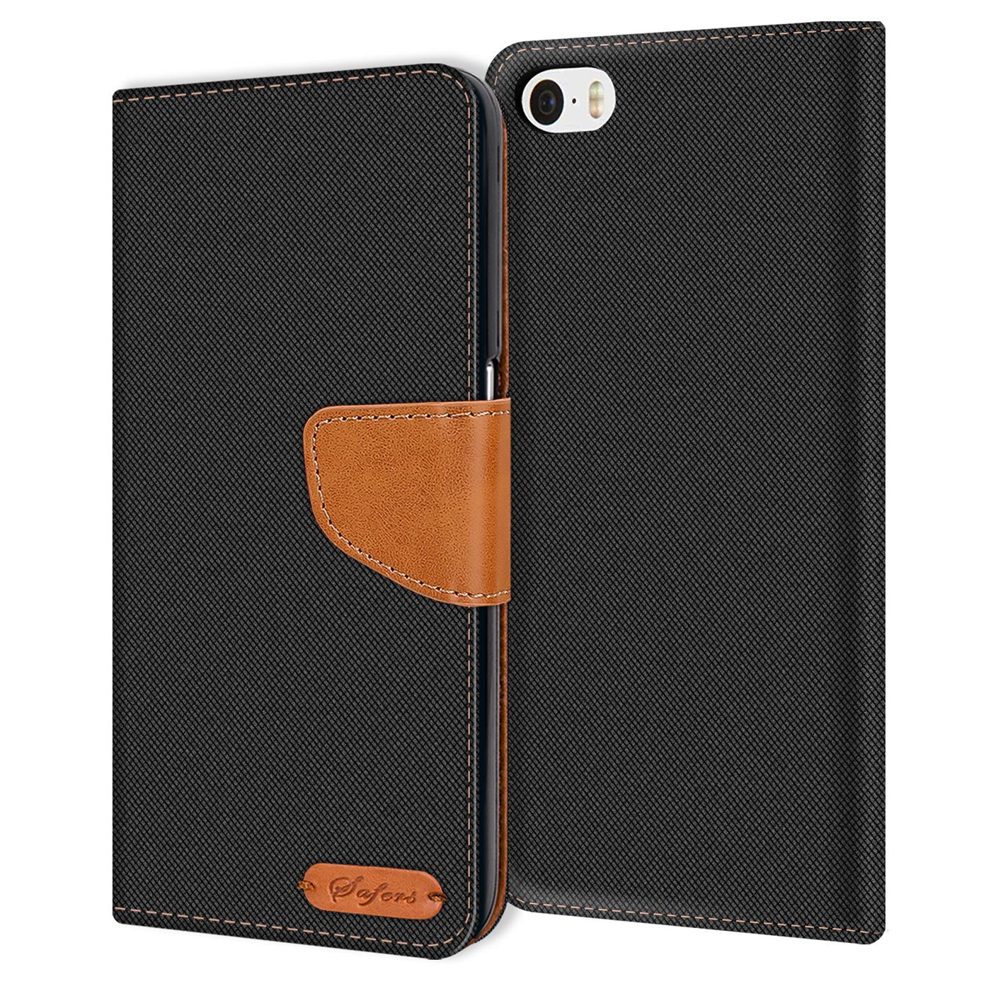 Apple-iPhone-5-5s-SE-Phone-PU-Leather-Magnetic-Flip-Case-Wallet-Denim-Cover-Slim thumbnail 5
