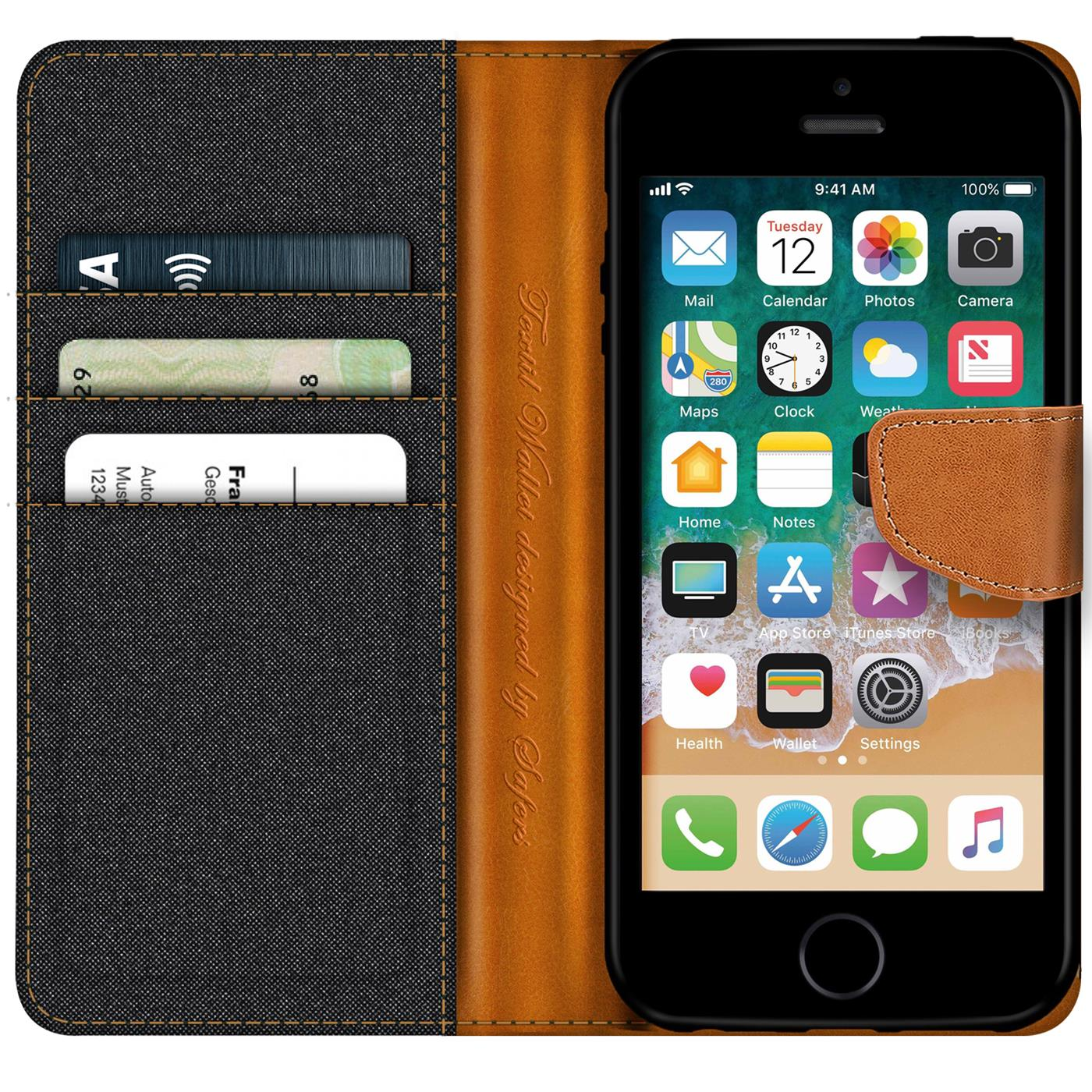 Apple-iPhone-5-5s-SE-Phone-PU-Leather-Magnetic-Flip-Case-Wallet-Denim-Cover-Slim thumbnail 6