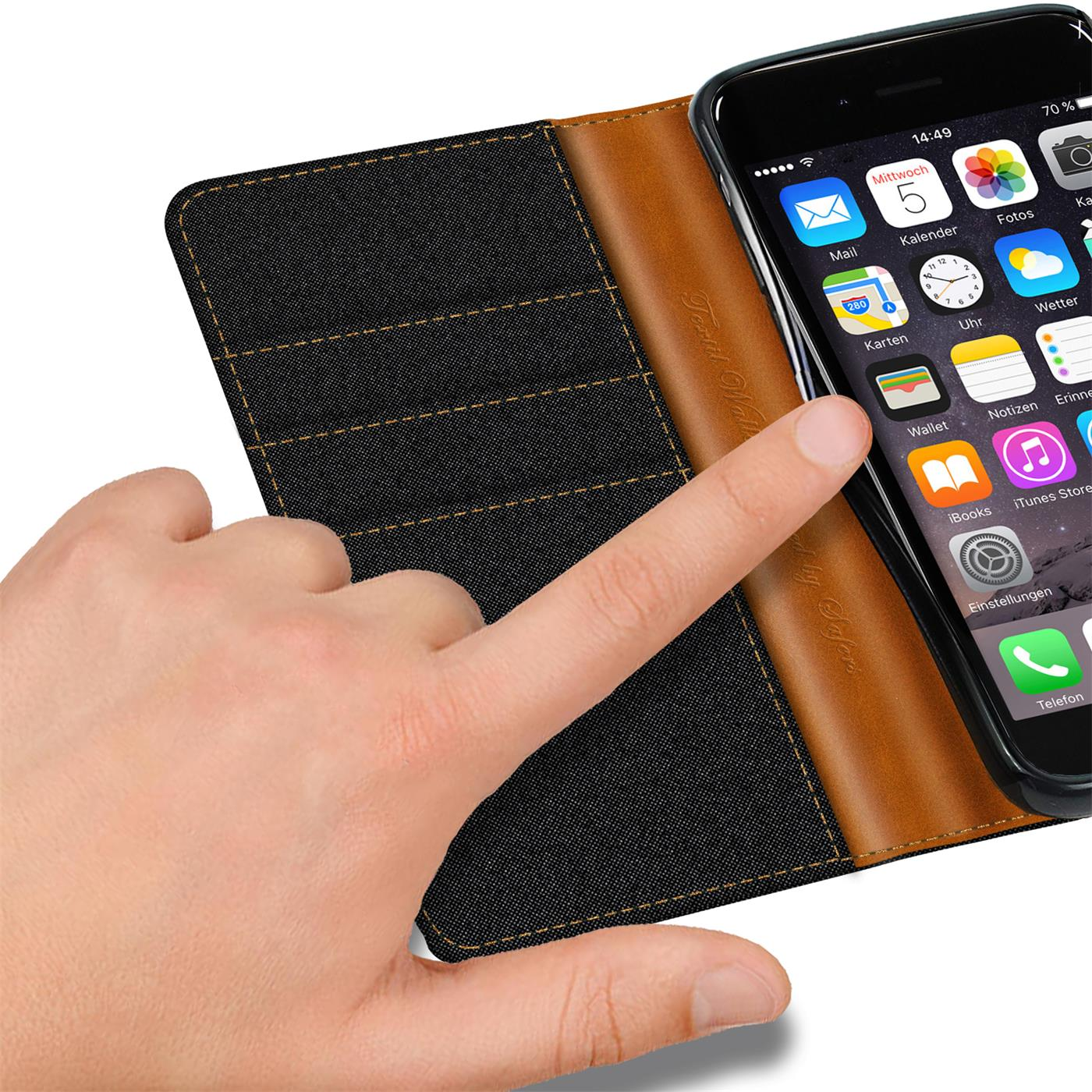Apple-iPhone-5-5s-SE-Phone-PU-Leather-Magnetic-Flip-Case-Wallet-Denim-Cover-Slim thumbnail 7