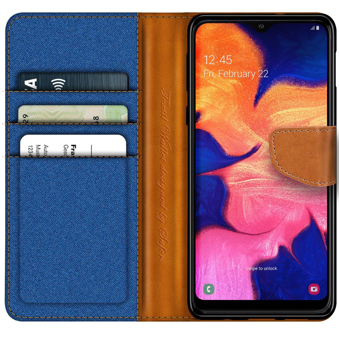 Handy-Huelle-Samsung-Galaxy-A10-Tasche-Wallet-Flip-Case-Schutz-Huelle-Stoff-Cover Indexbild 18