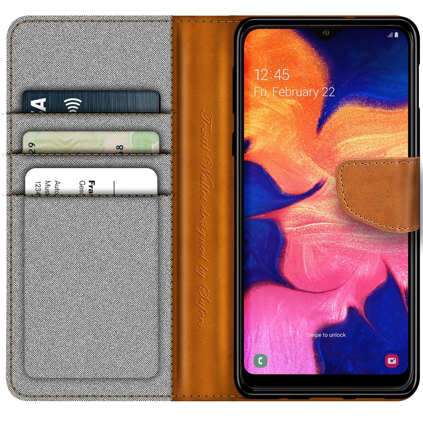 Handy-Huelle-Samsung-Galaxy-A10-Tasche-Wallet-Flip-Case-Schutz-Huelle-Stoff-Cover Indexbild 12