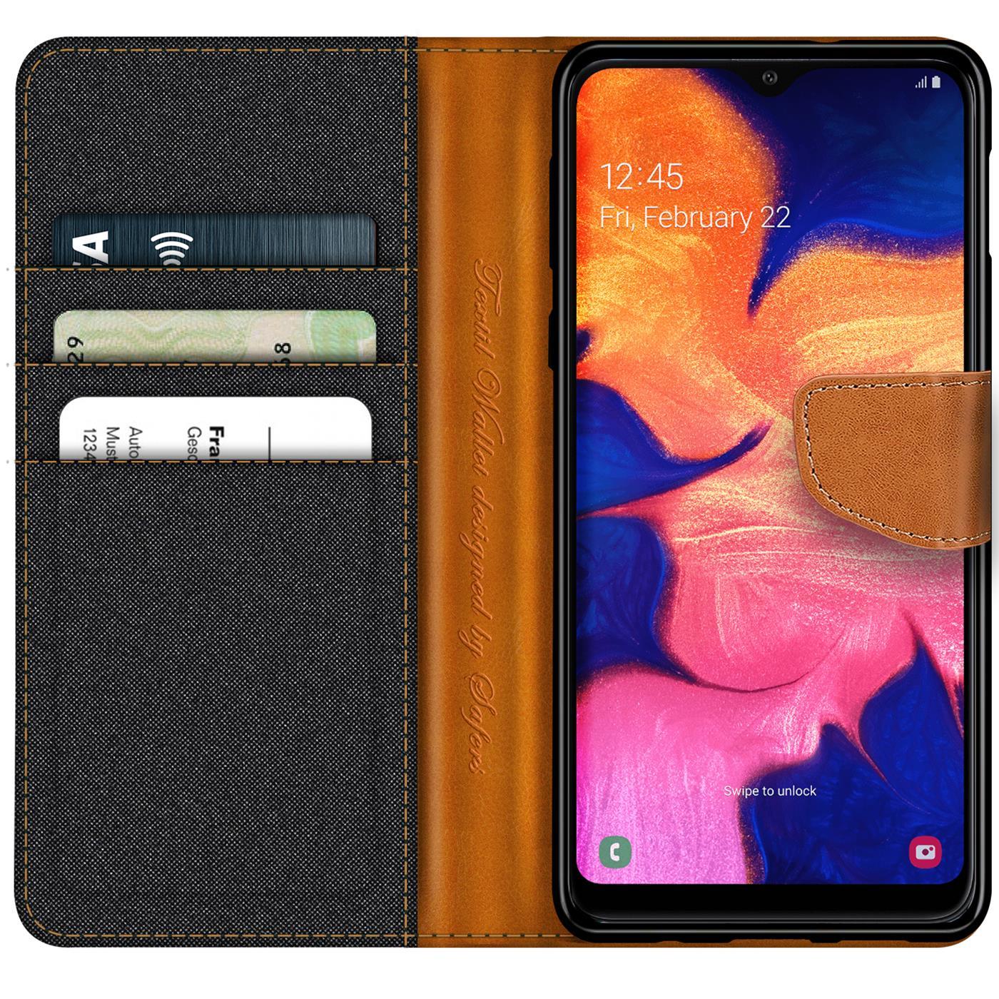 Handy-Huelle-Samsung-Galaxy-A10-Tasche-Wallet-Flip-Case-Schutz-Huelle-Stoff-Cover Indexbild 9
