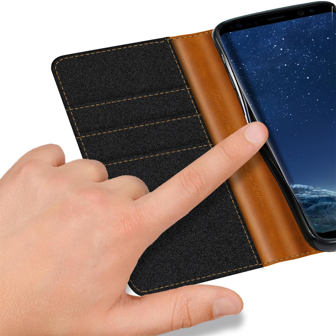 Samsung-Galaxy-S8-Plus-Phone-PU-Leather-Magnetic-Flip-Case-Wallet-Denim-Cover thumbnail 8