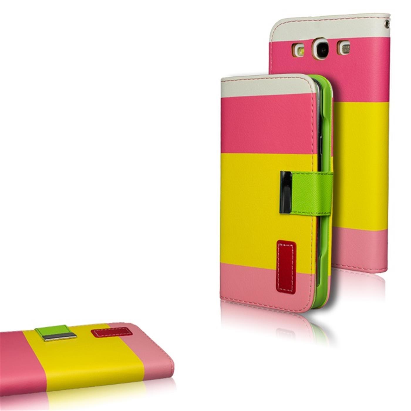 Samsung-Galaxy-S3-Neo-Huelle-Klapphuelle-Tasche-3-Farben-Premium-Case-Cover-Pink