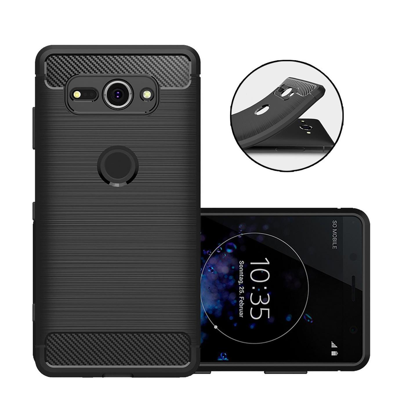 Coque-carbone-pour-Sony-Xperia-xz2-Compact-Etui-de-protection-portable-case-hybride-TPU-Cover miniature 9