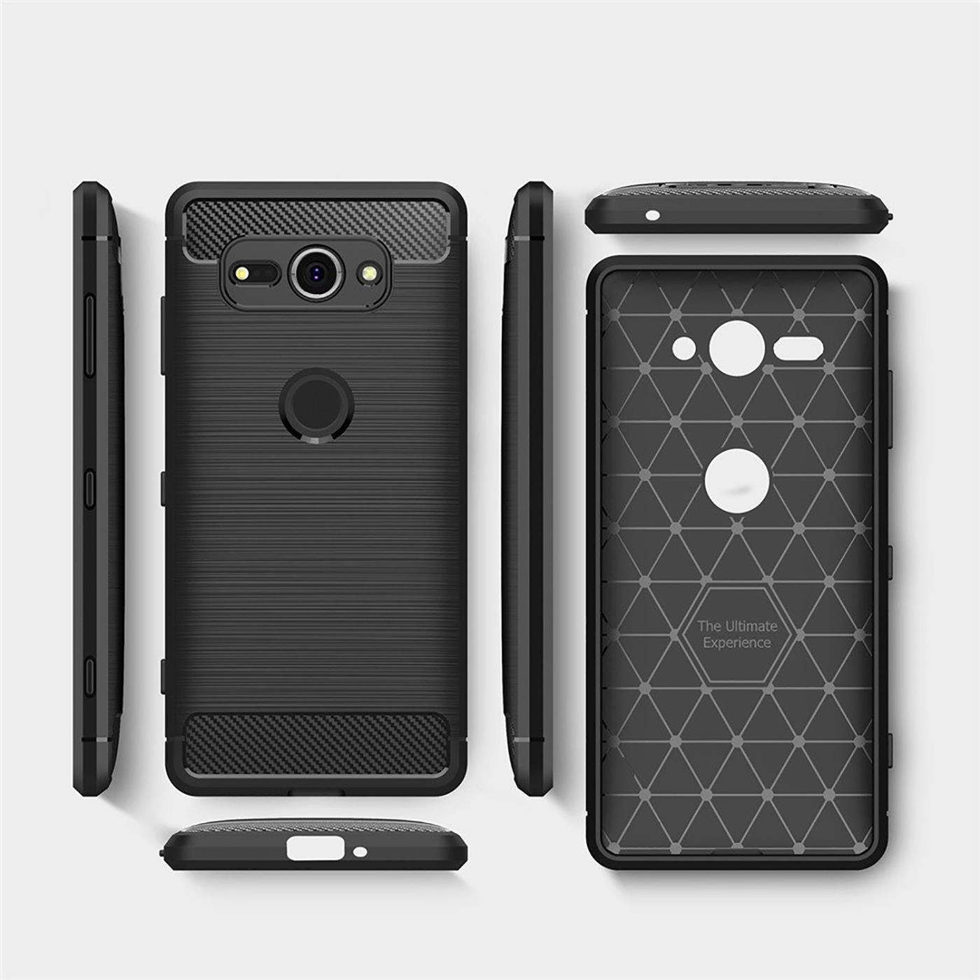 Coque-carbone-pour-Sony-Xperia-xz2-Compact-Etui-de-protection-portable-case-hybride-TPU-Cover miniature 10