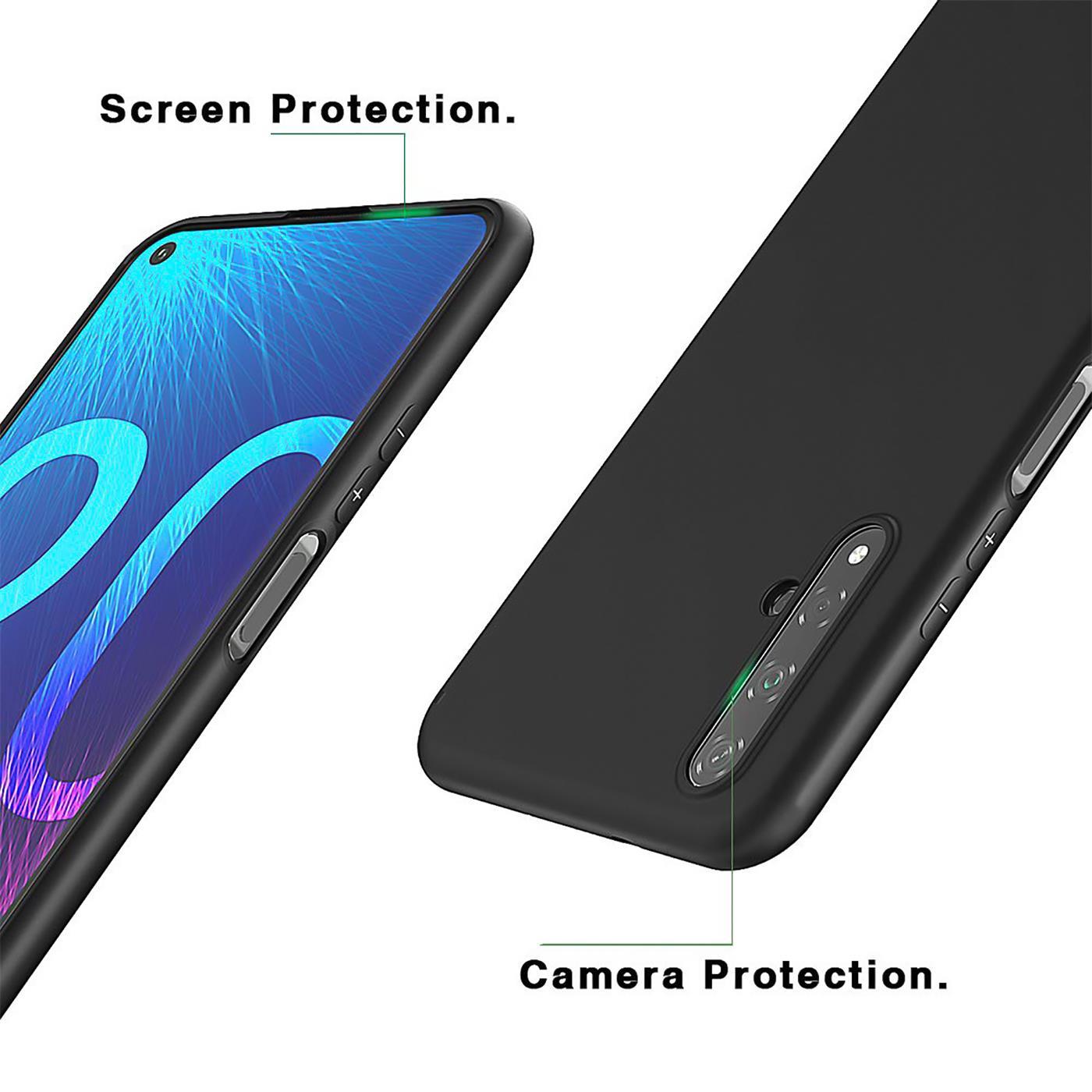 Huelle-fuer-Huawei-Nova-5T-Schutzhuelle-Handy-Huelle-Slim-Case-Weich-Matt-Schwarz Indexbild 10