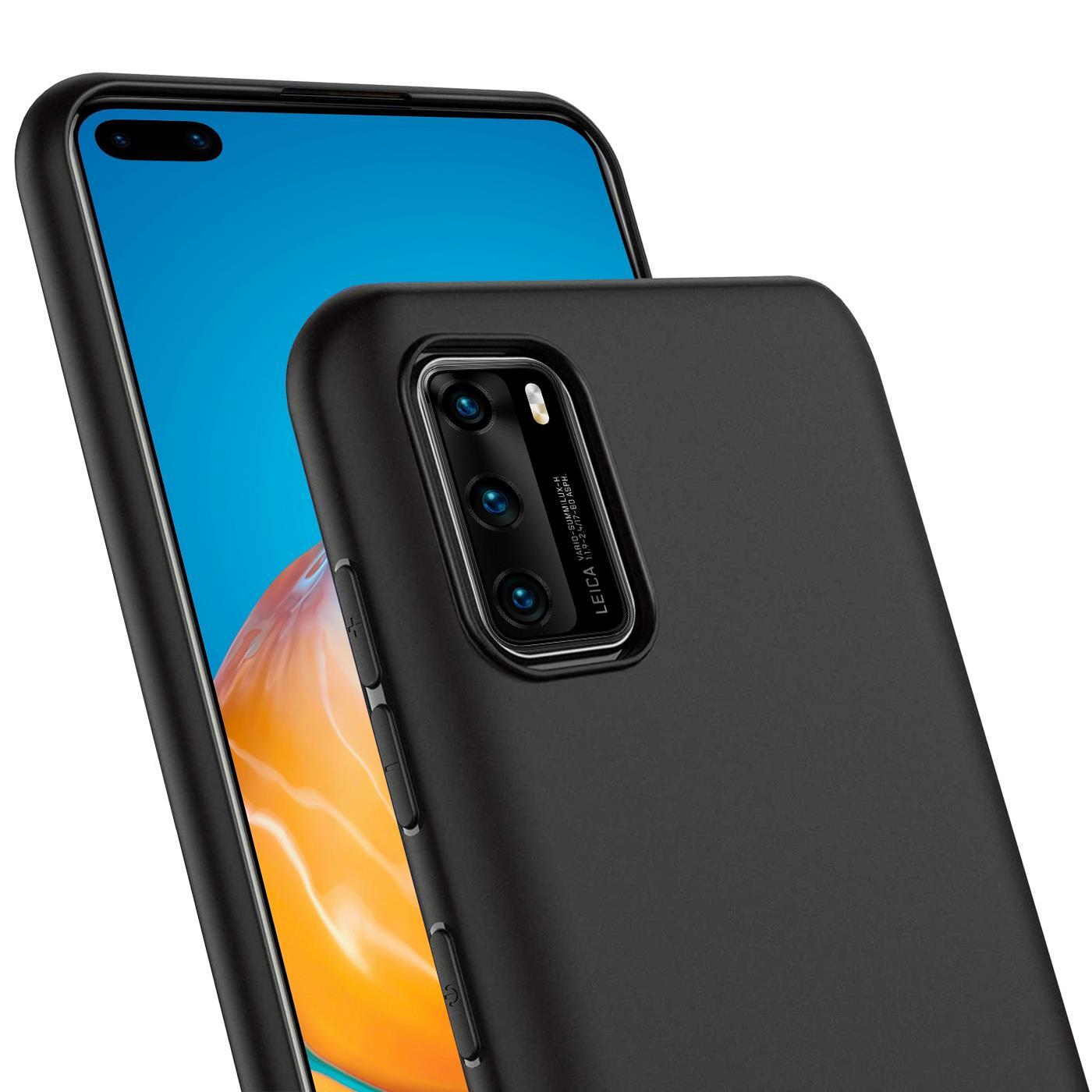 Schutz-Huelle-fuer-Huawei-P40-Case-Silikon-Handy-Huelle-Slim-Cover-Matt-Schwarz Indexbild 9