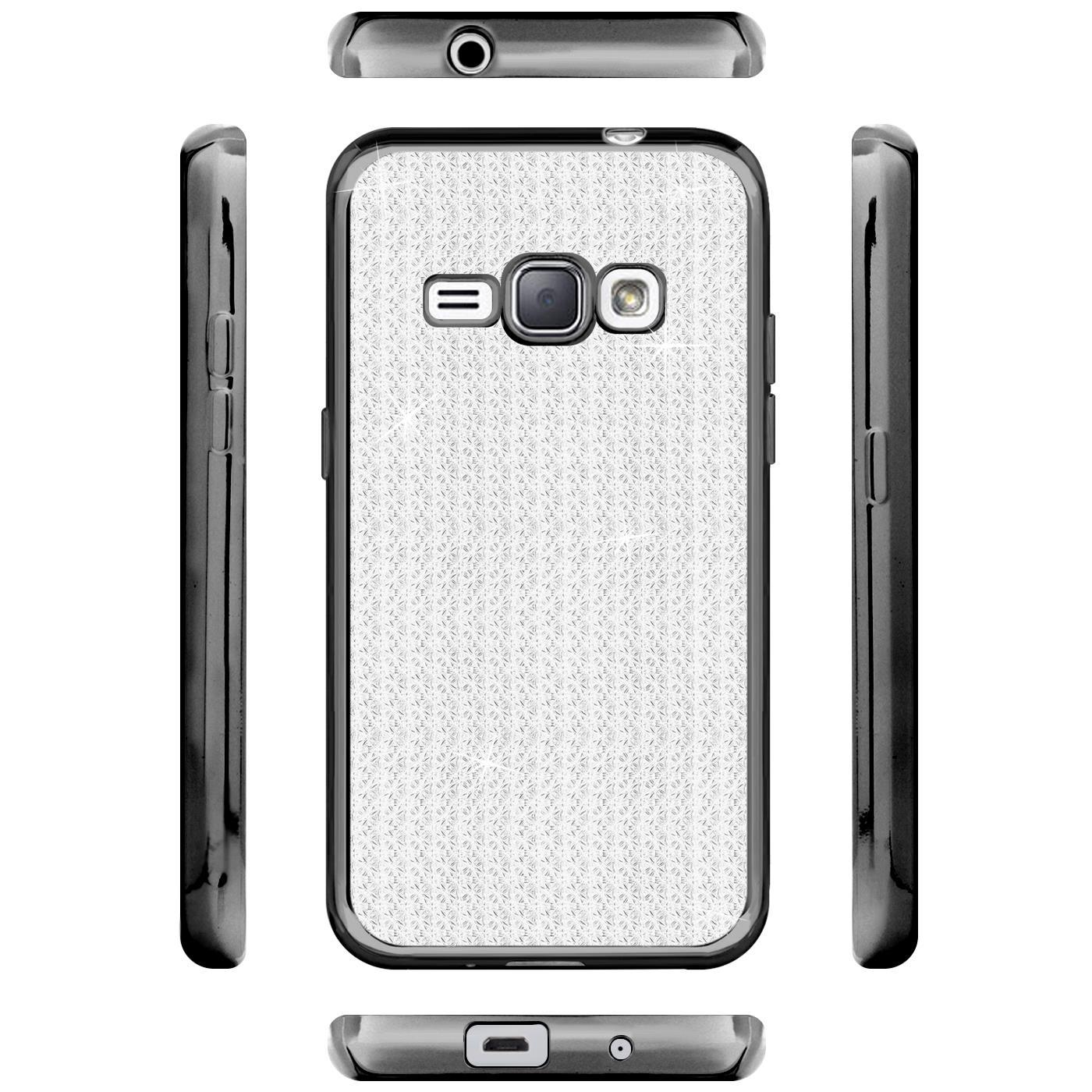 Handy-Etui-Samsung-Galaxy-J1-2016-Huelle-Glitzer-Silikon-Case-Schutz-Cover-Tasche Indexbild 5