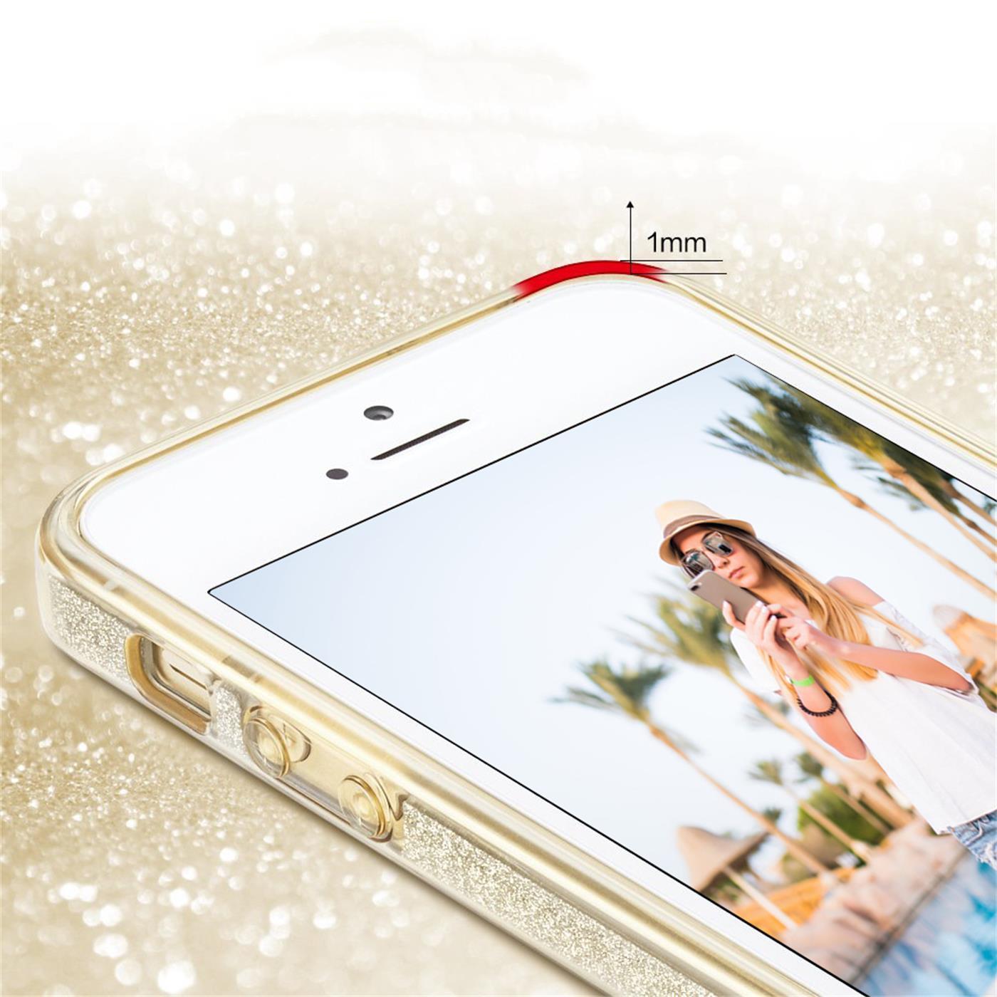 Handy-Glitzer-Huelle-fuer-Apple-iPhone-Slim-TPU-Cover-Case-Silikon-Schutz-Tasche Indexbild 7