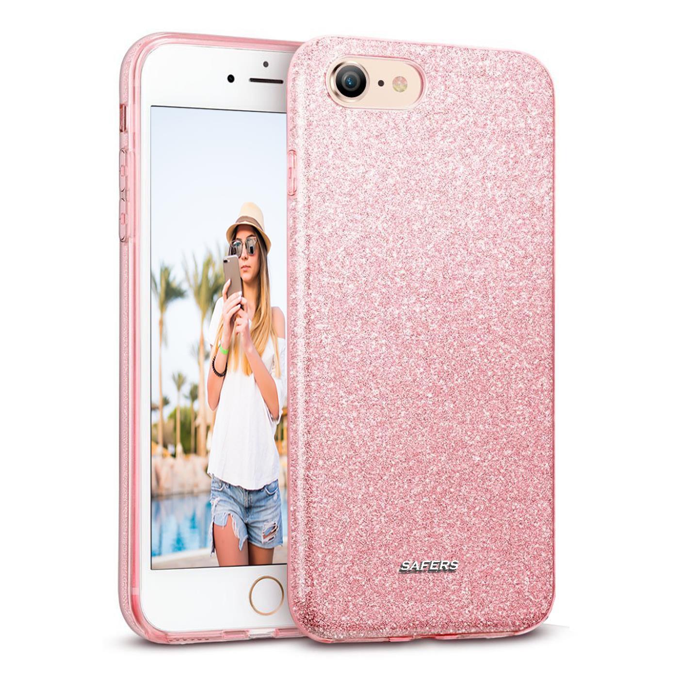 Handy Glitzer Hülle für Apple iPhone Slim TPU Cover Case Silikon Schutz Tasche