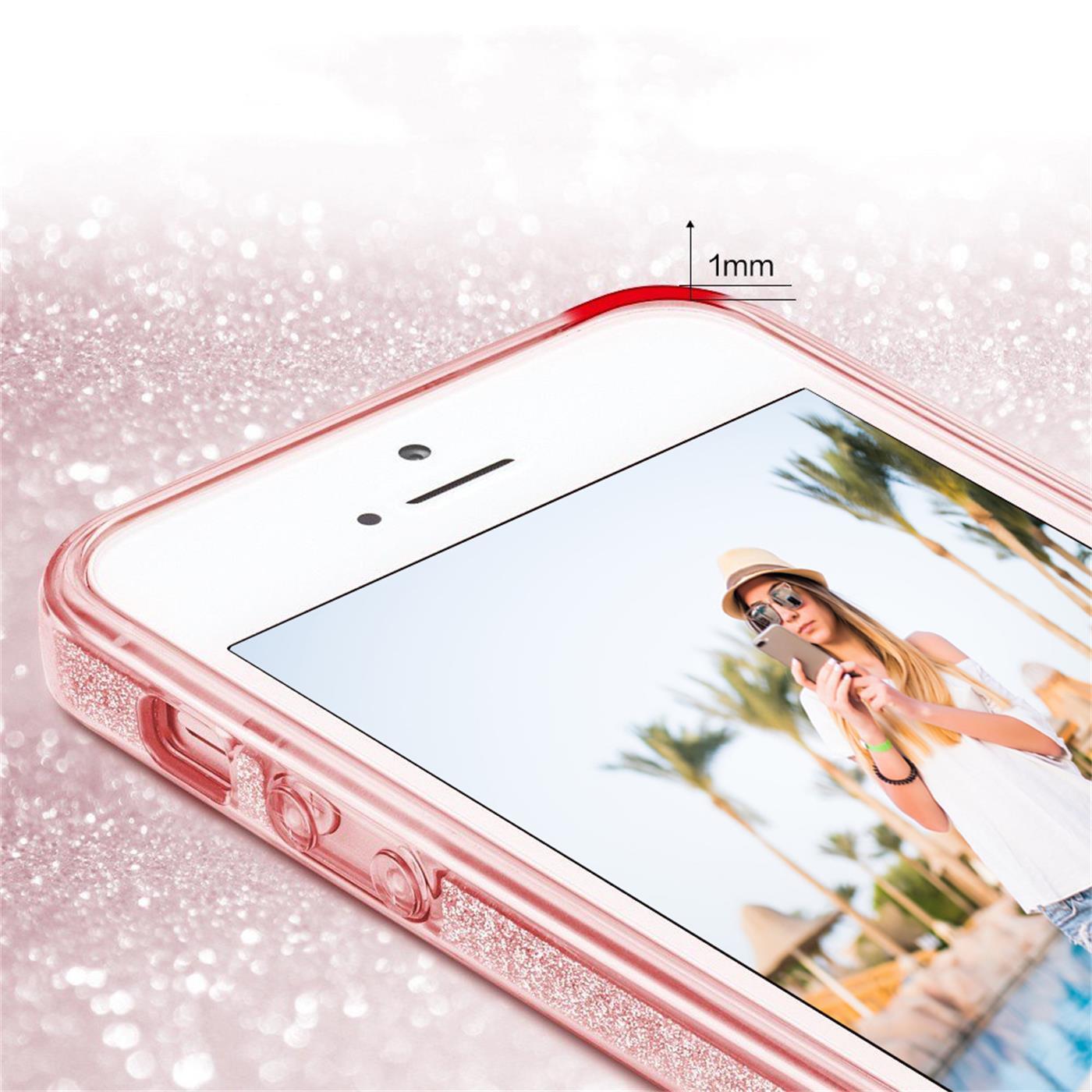 Handy-Glitzer-Huelle-fuer-Apple-iPhone-Slim-TPU-Cover-Case-Silikon-Schutz-Tasche Indexbild 13