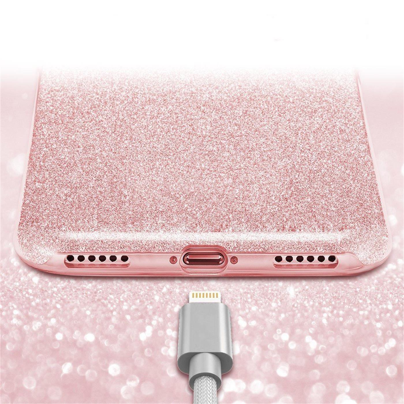 Handy-Glitzer-Huelle-fuer-Apple-iPhone-Slim-TPU-Cover-Case-Silikon-Schutz-Tasche Indexbild 14