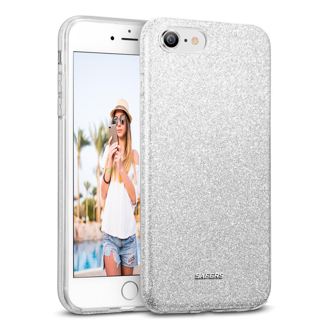 Handy-Glitzer-Huelle-fuer-Apple-iPhone-Slim-TPU-Cover-Case-Silikon-Schutz-Tasche Indexbild 16