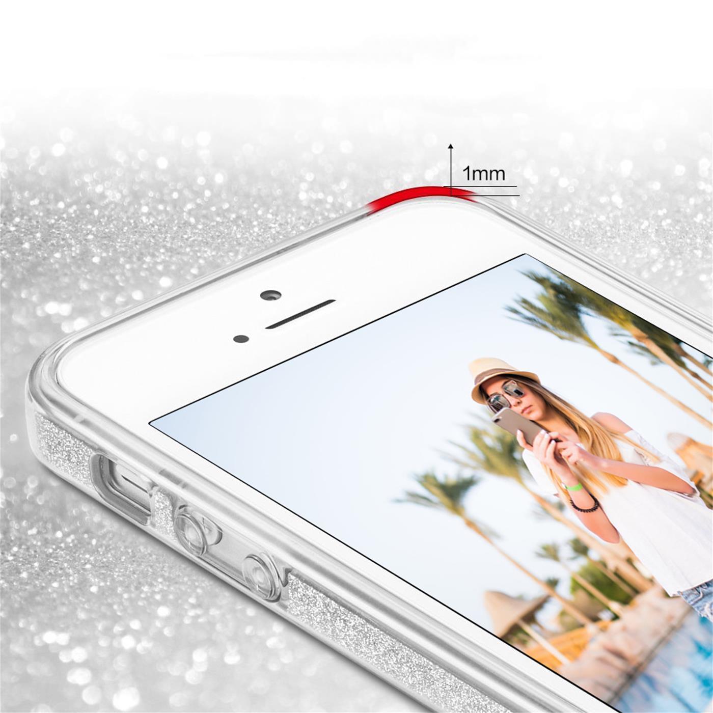 Handy-Glitzer-Huelle-fuer-Apple-iPhone-Slim-TPU-Cover-Case-Silikon-Schutz-Tasche Indexbild 19